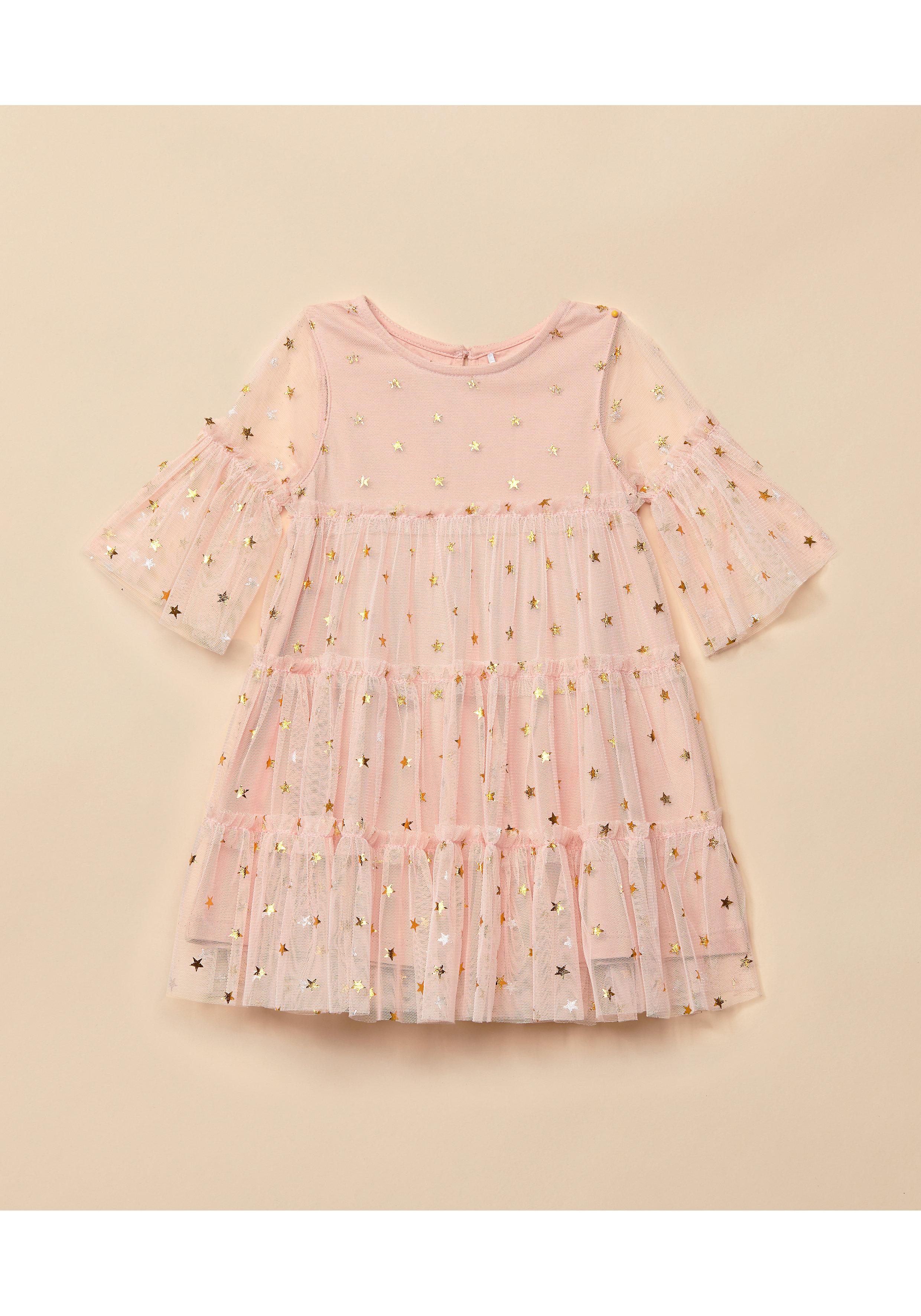 Mothercare | Girls Full Sleeves Sparkle Star Print Mesh Dress - Pink