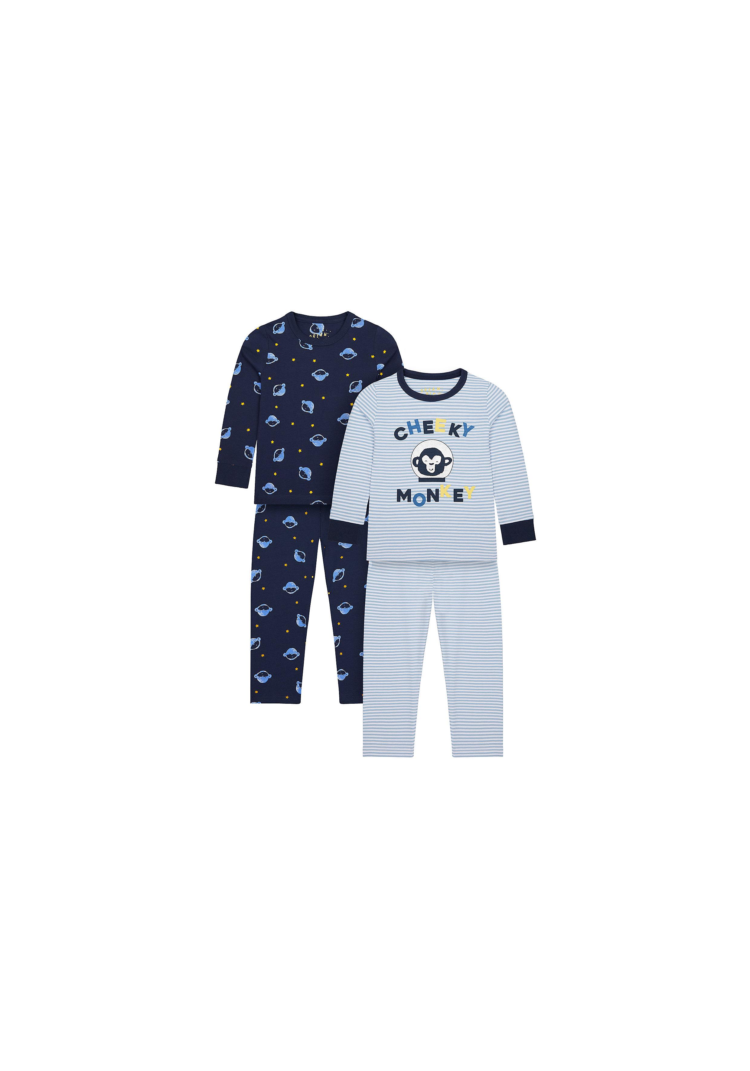 Mothercare   Boys Full Sleeves Pyjama Sets - Pack Of 2 - Blue