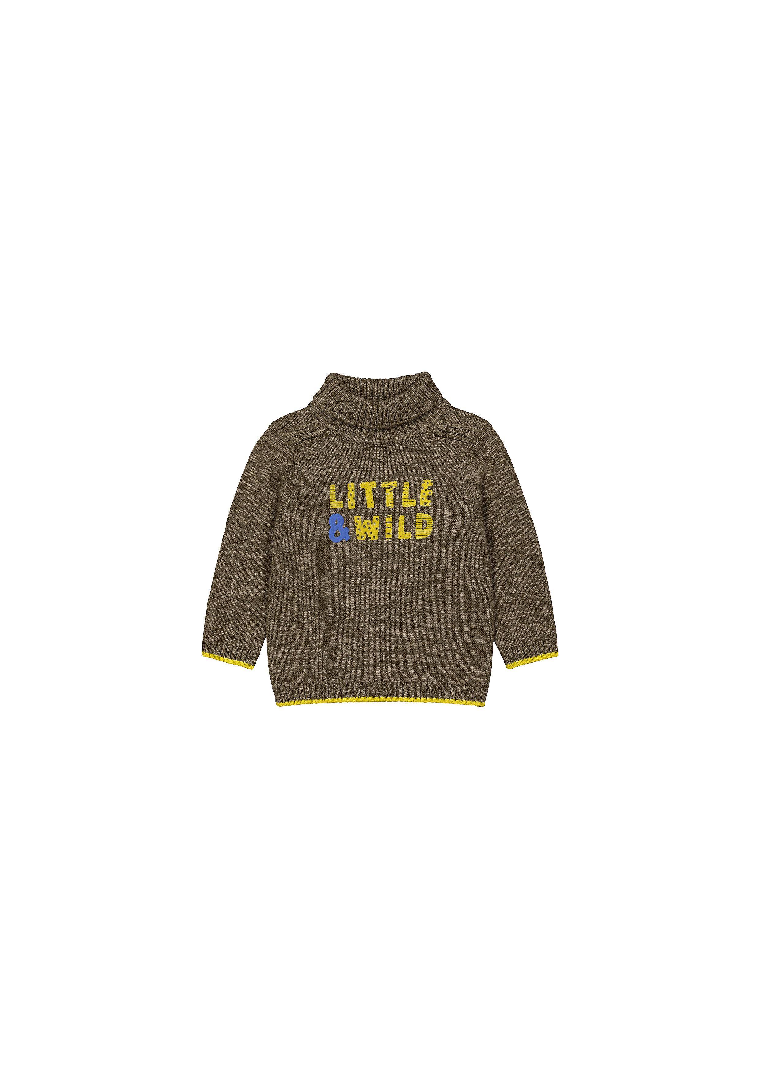 Mothercare   Boys Full Sleeves Sweater Text Print - Khaki