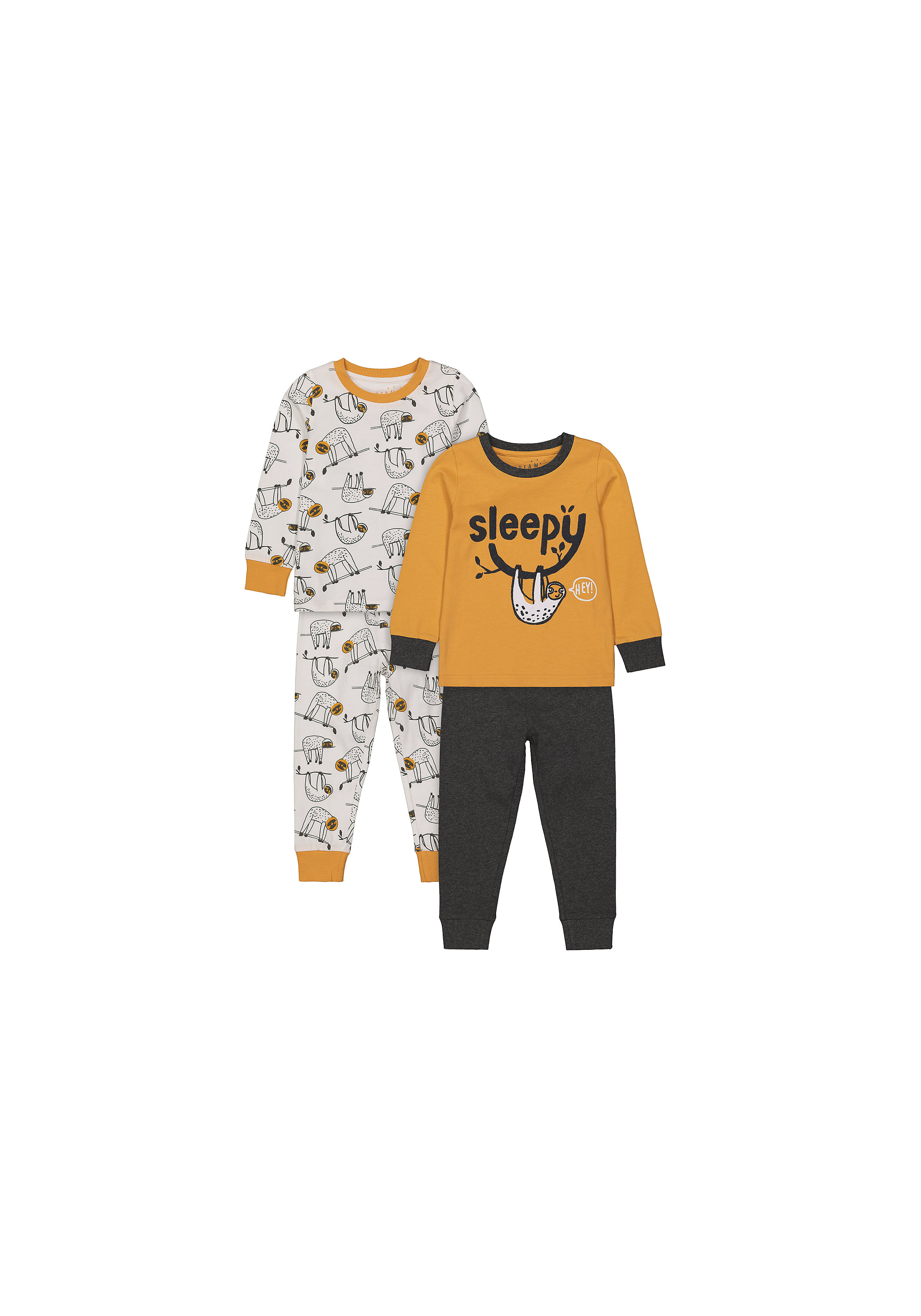 Mothercare | Boys Full Sleeves Text Print Pyjamas - Pack Of 2 - Multicolor