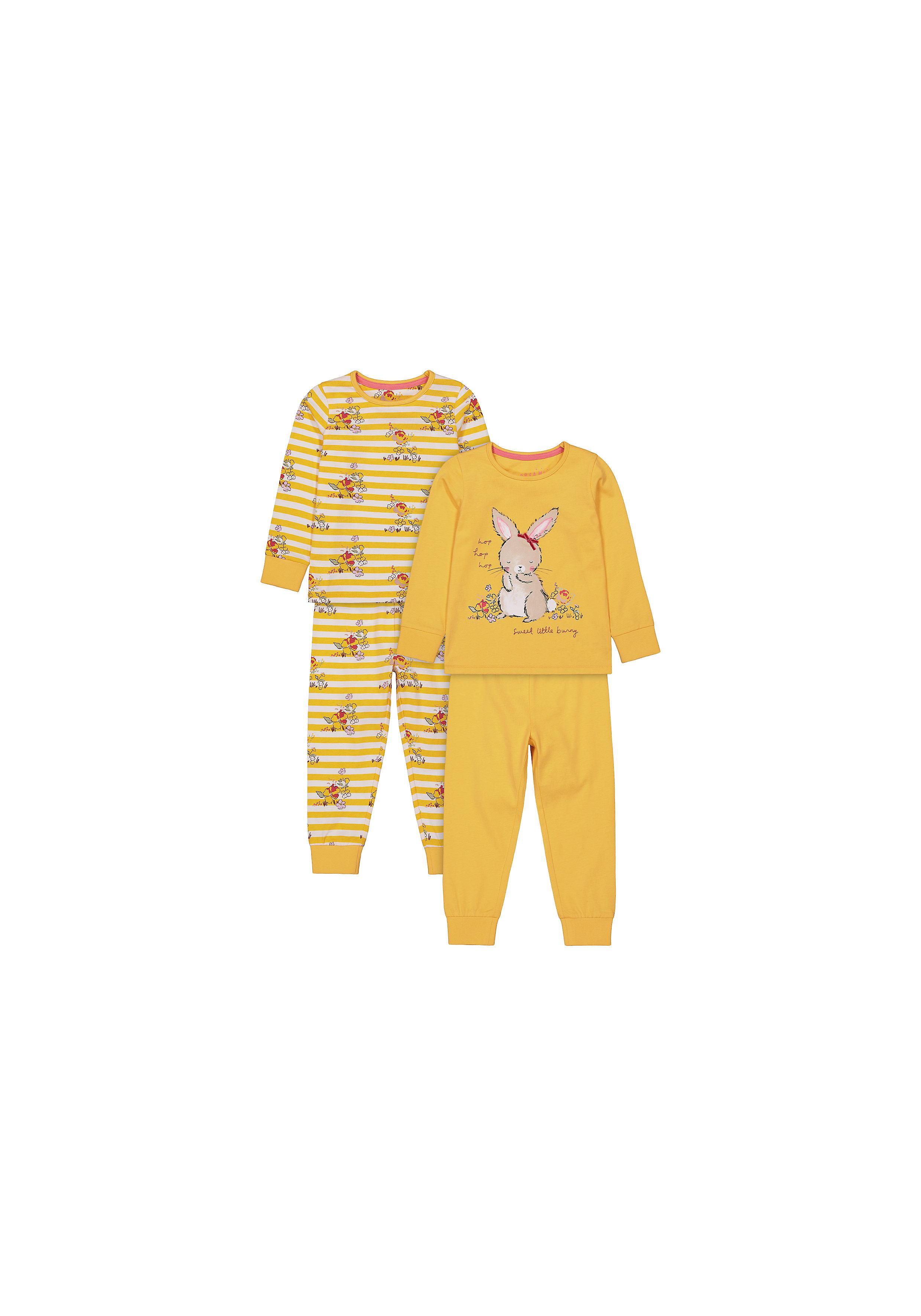 Mothercare | Girls Full Sleeves Pyjama Sets - Pack Of 2 - Mustard