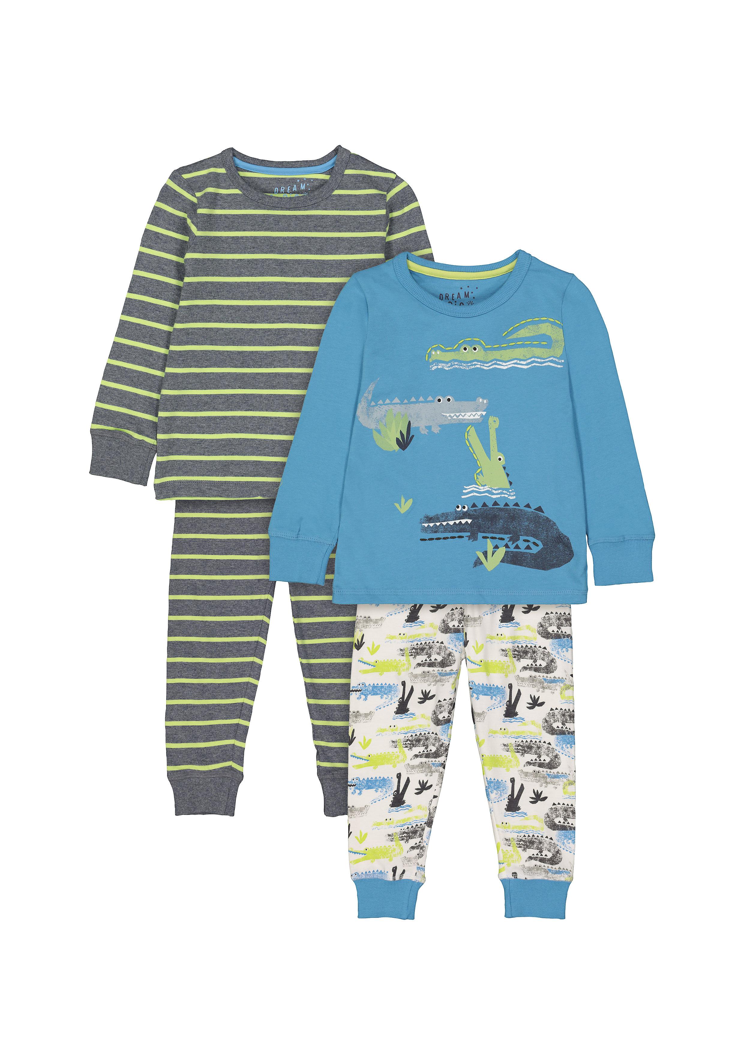 Mothercare | Boys Full sleeves Stripe and crocodile print Pyjamas - Pack of 2 - Multicolor