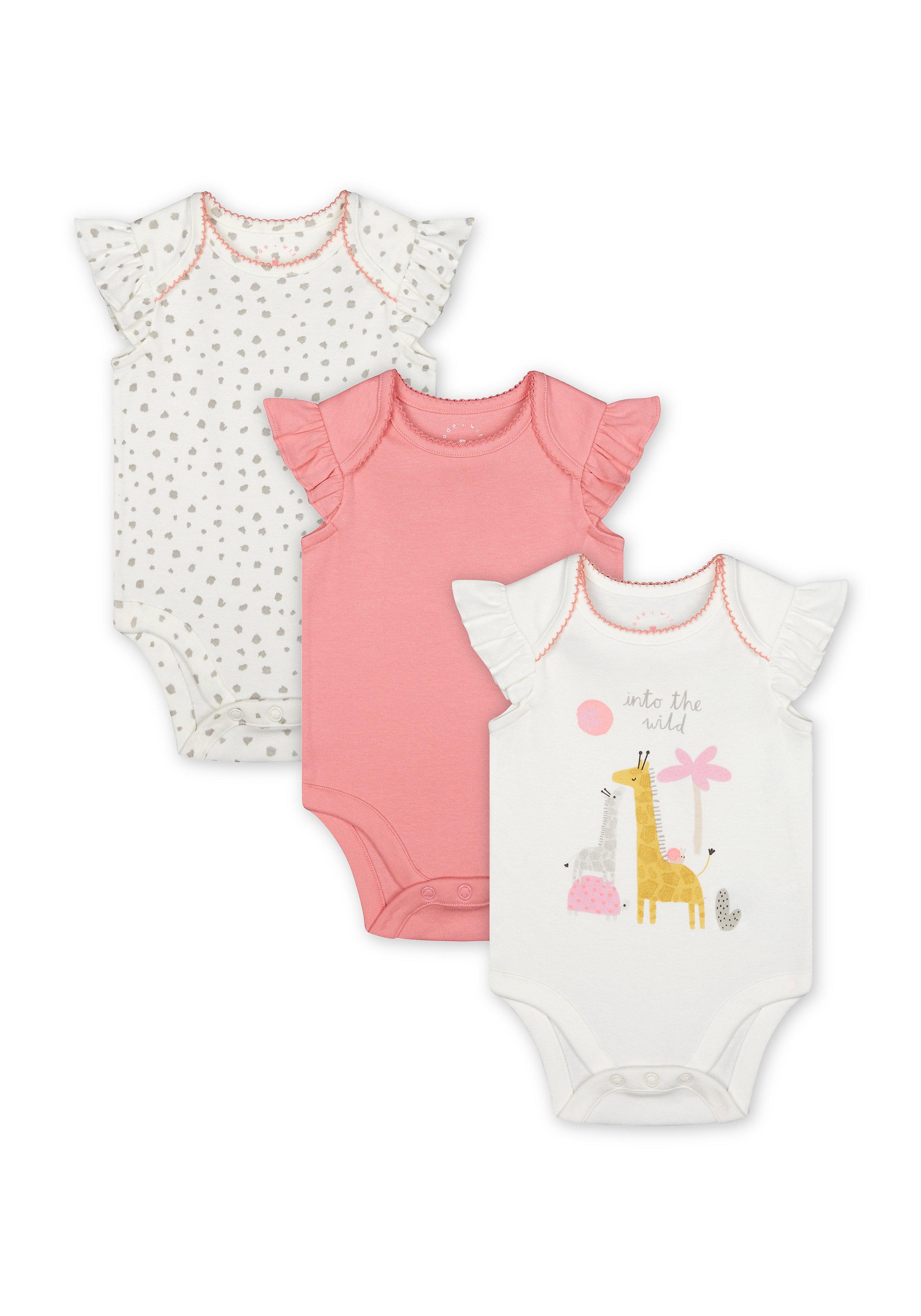 Mothercare | Girls Half Sleeves Bodysuit Giraffe Print - Pack Of 3 - Multicolor