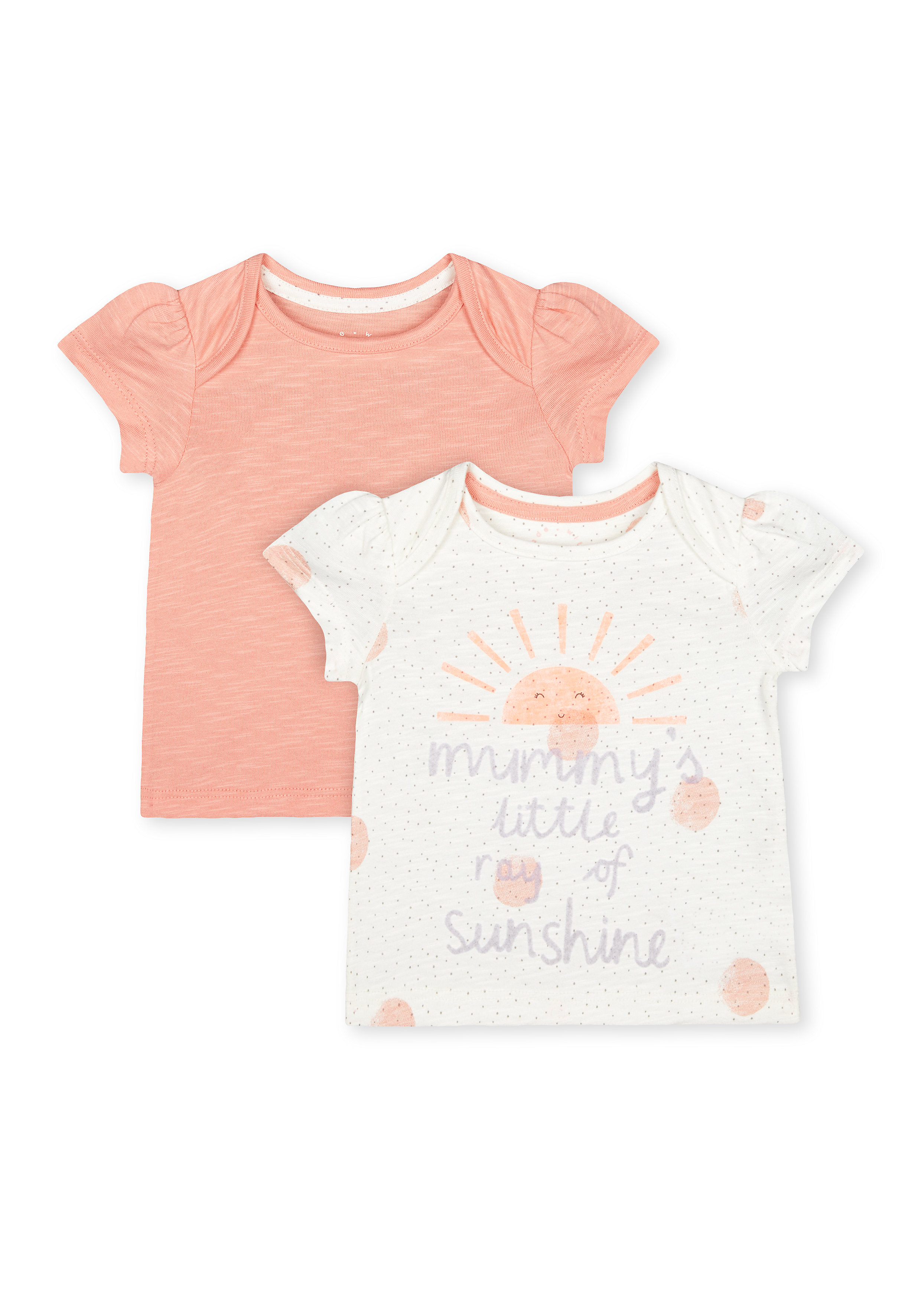 Mothercare | Girls Half Sleeves T-Shirt Text Print - Pack Of 2 - Pink Cream