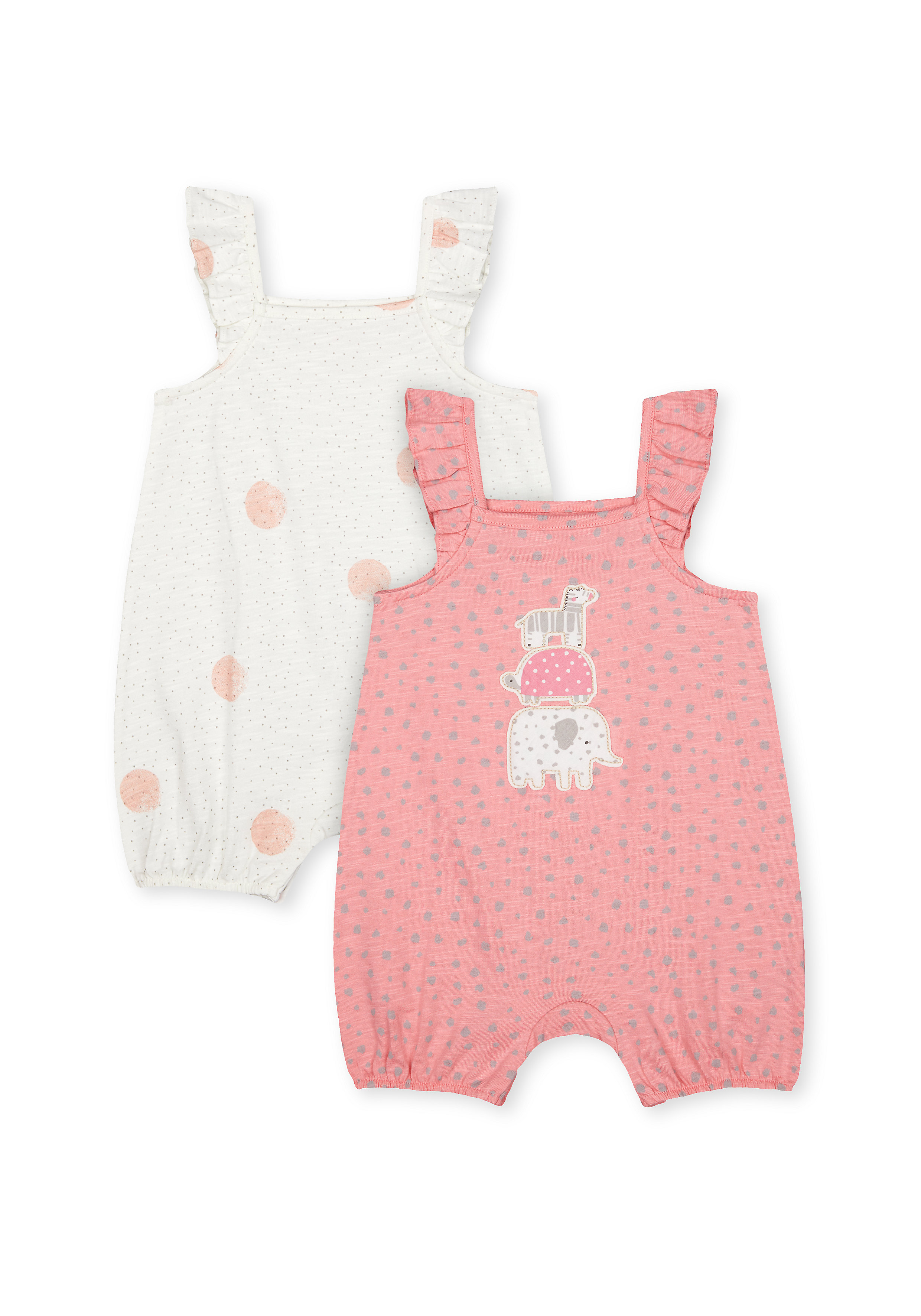 Mothercare | Girls Frill Sleeves Romper Animal Patch Work - Pack Of 2 - Pink Cream