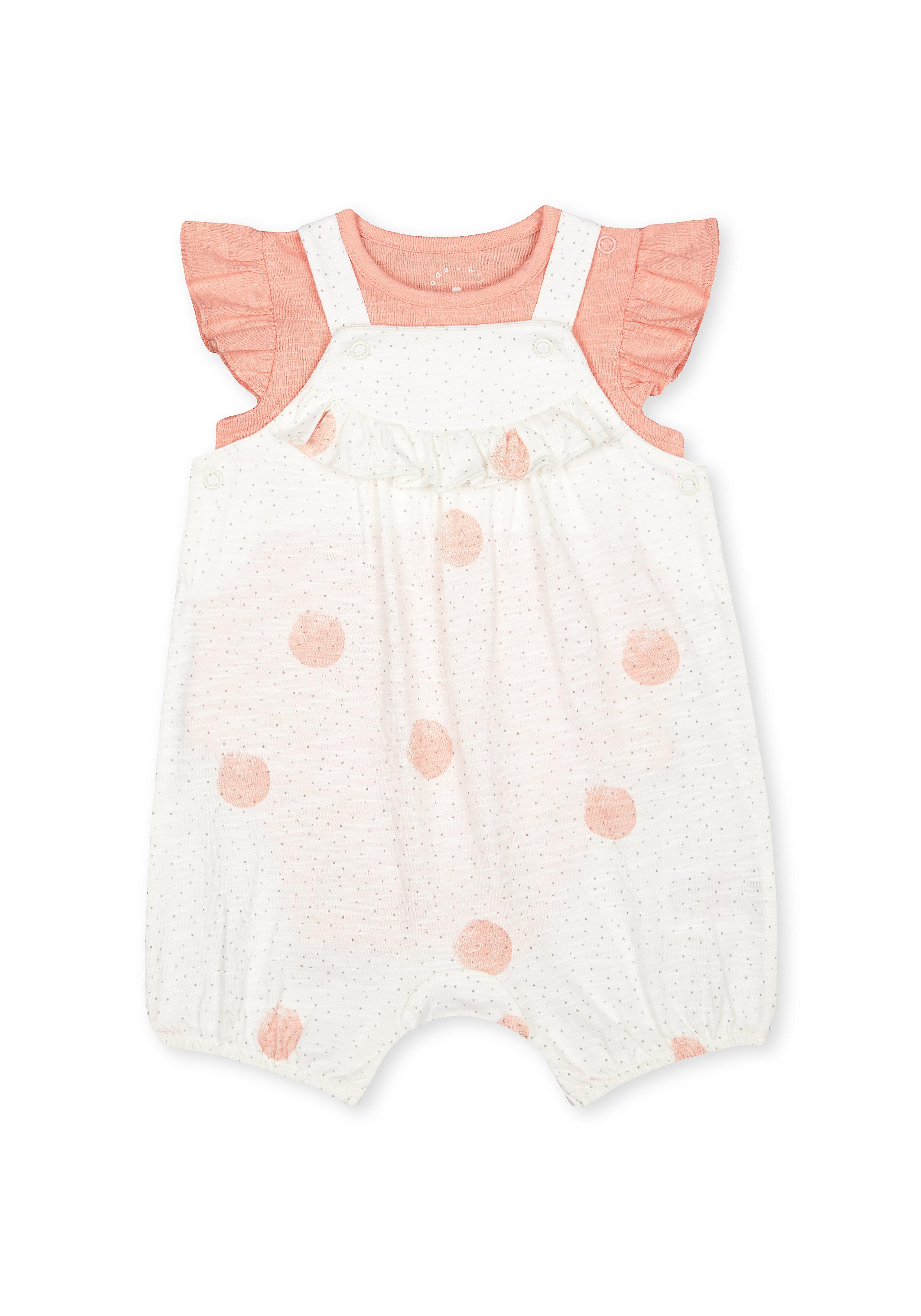 Mothercare   Girls Half Sleeves Dungaree Set Polka Dot Print - White Pink