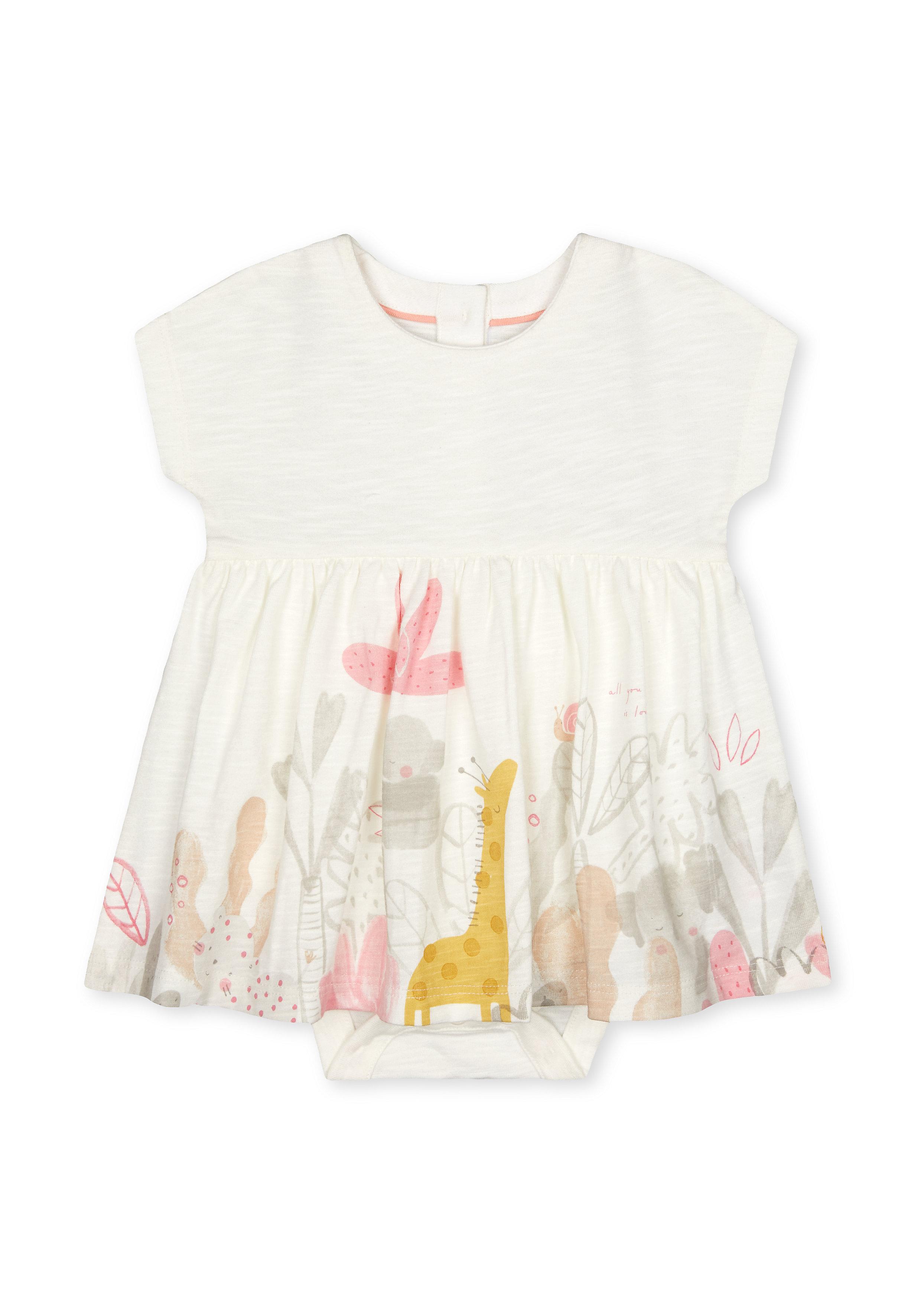 Mothercare | Girls Half Sleeves Dress Animal Print - Cream