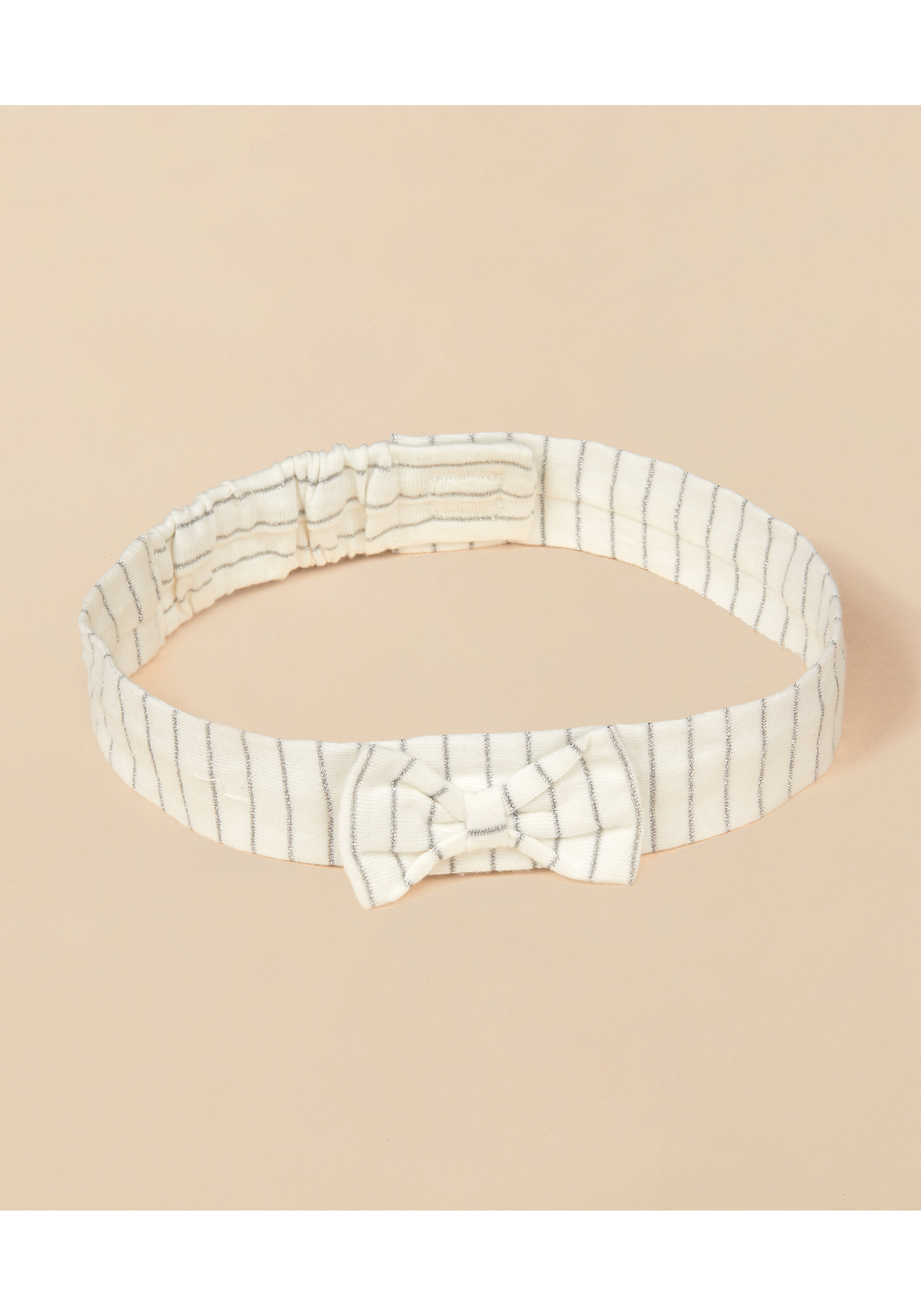 Mothercare   Girls Headband Striped With Bow Details - Cream