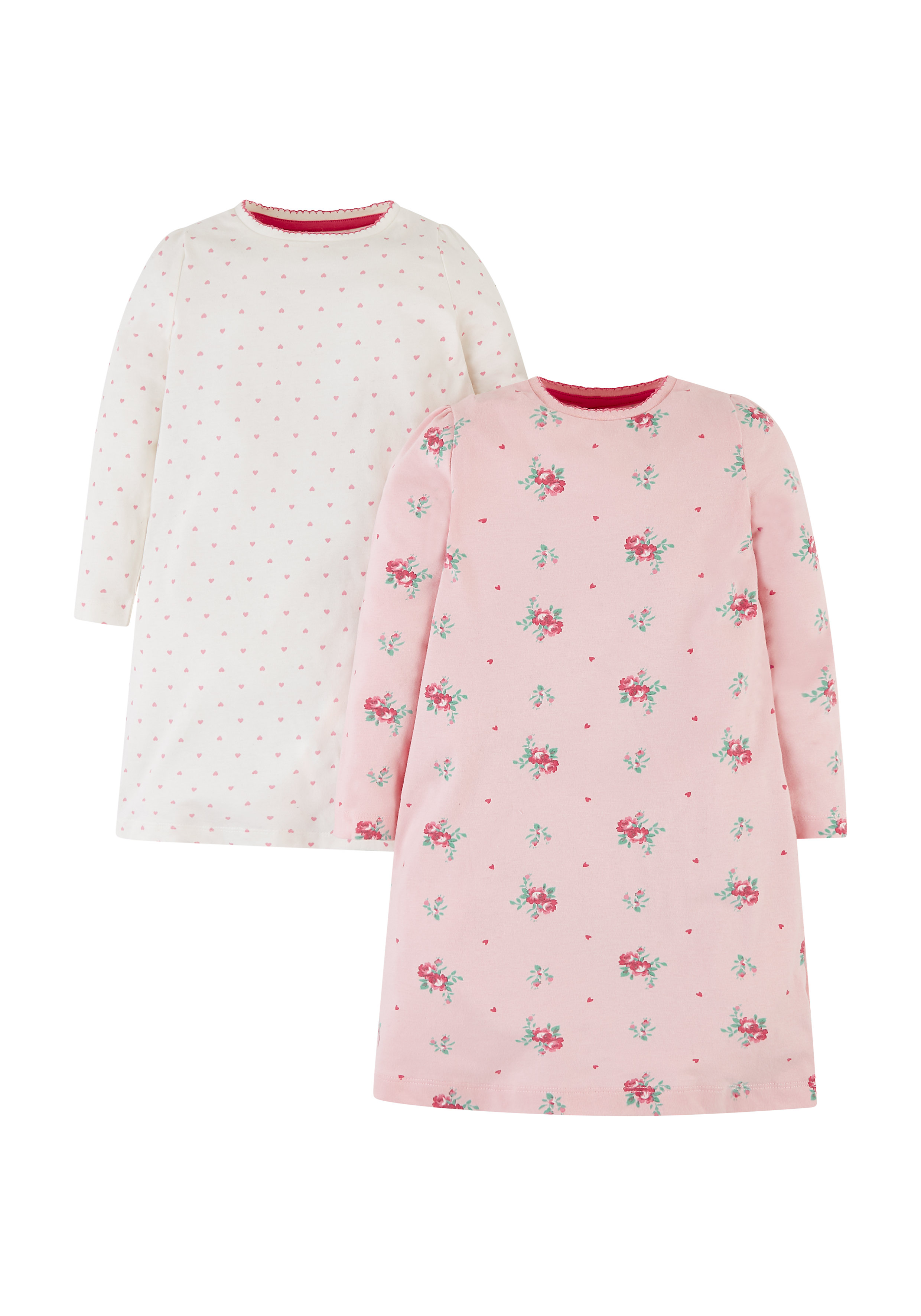 Mothercare | Girls Full Sleeves Nightdress Floral Print - Pack Of 2 - Pink White