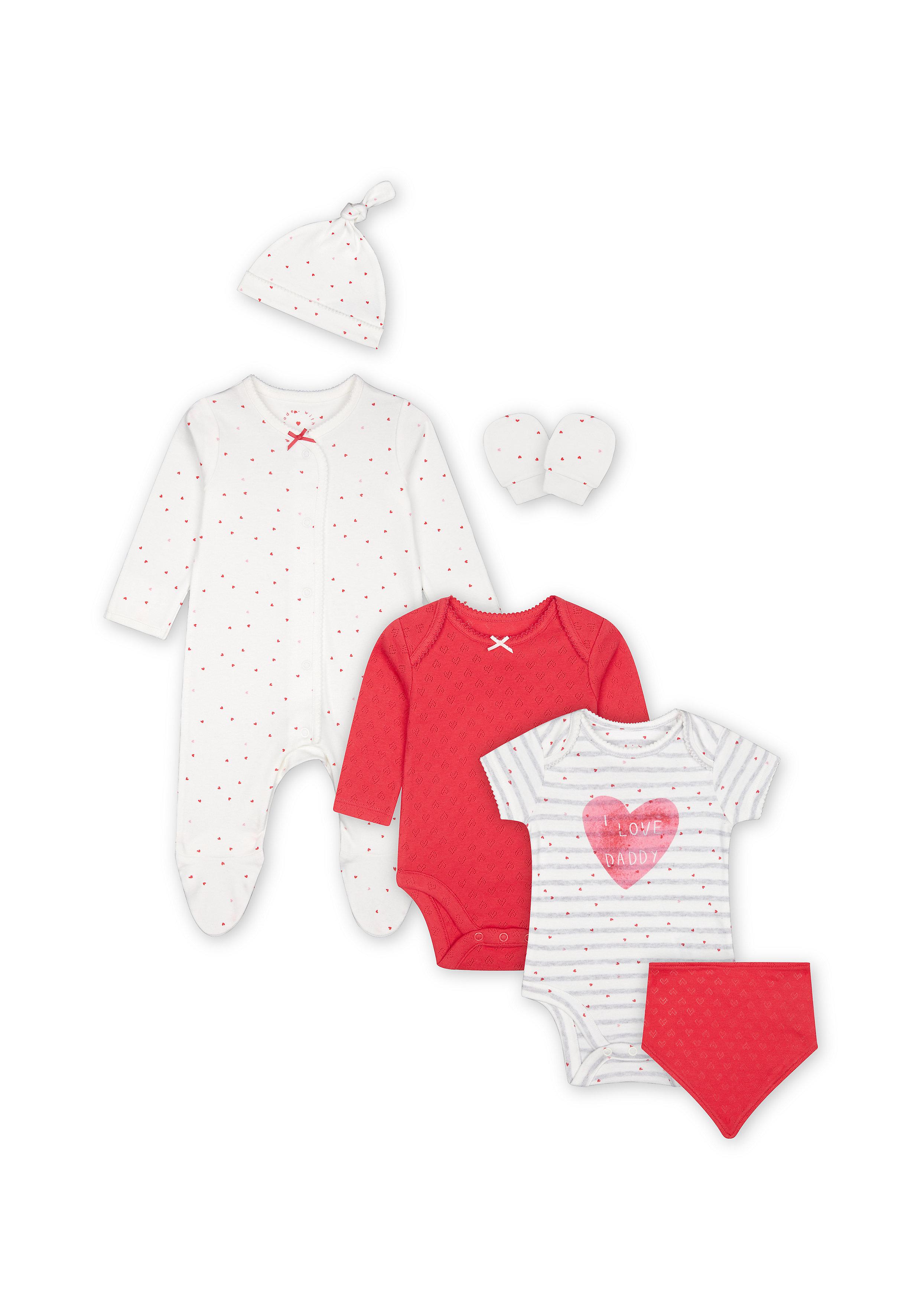 Mothercare | Girls 6 Piece Set Heart Print - Pink
