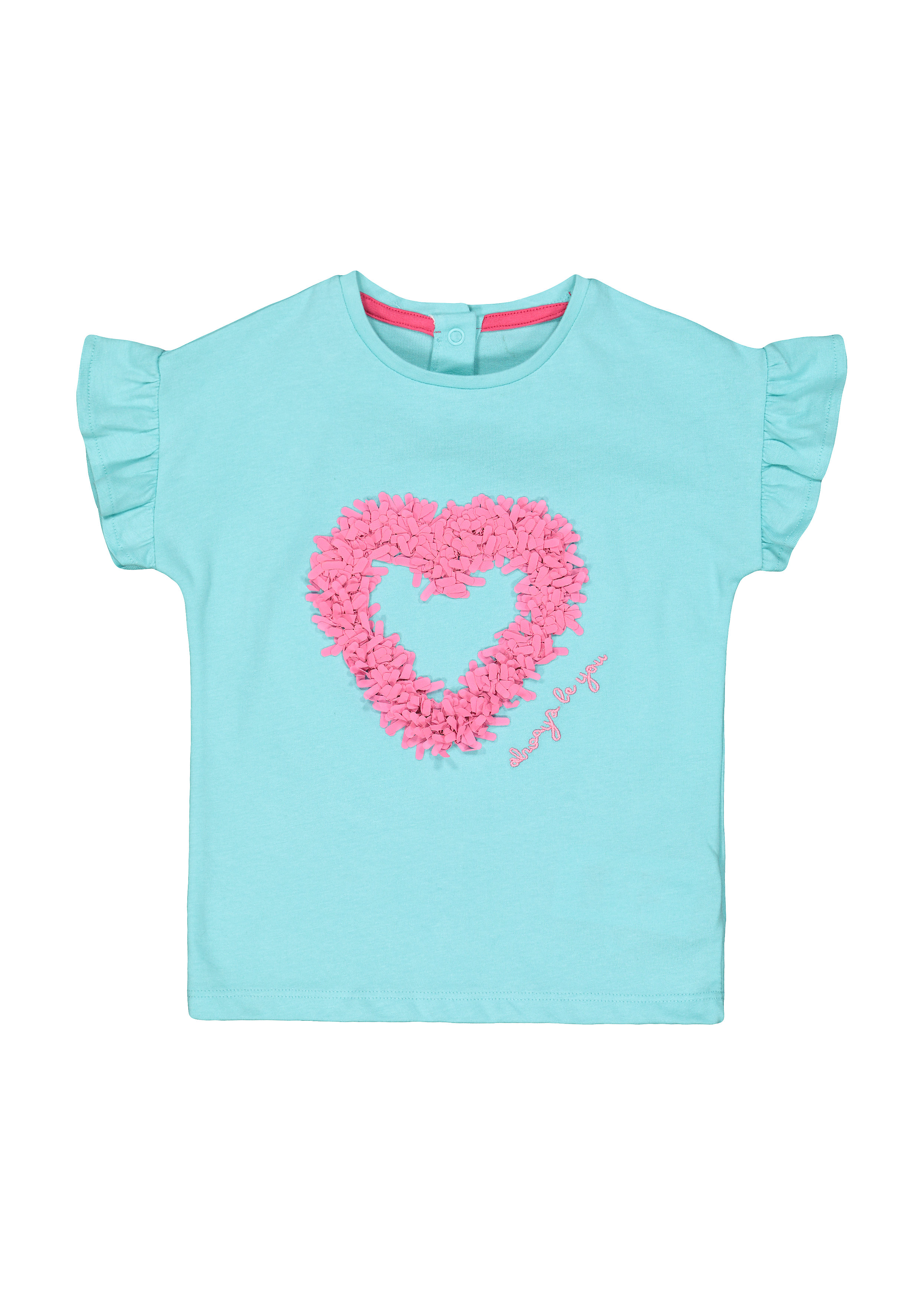 Mothercare | Girls Half Sleeves T-Shirt Heart Embroidery Detail - Green