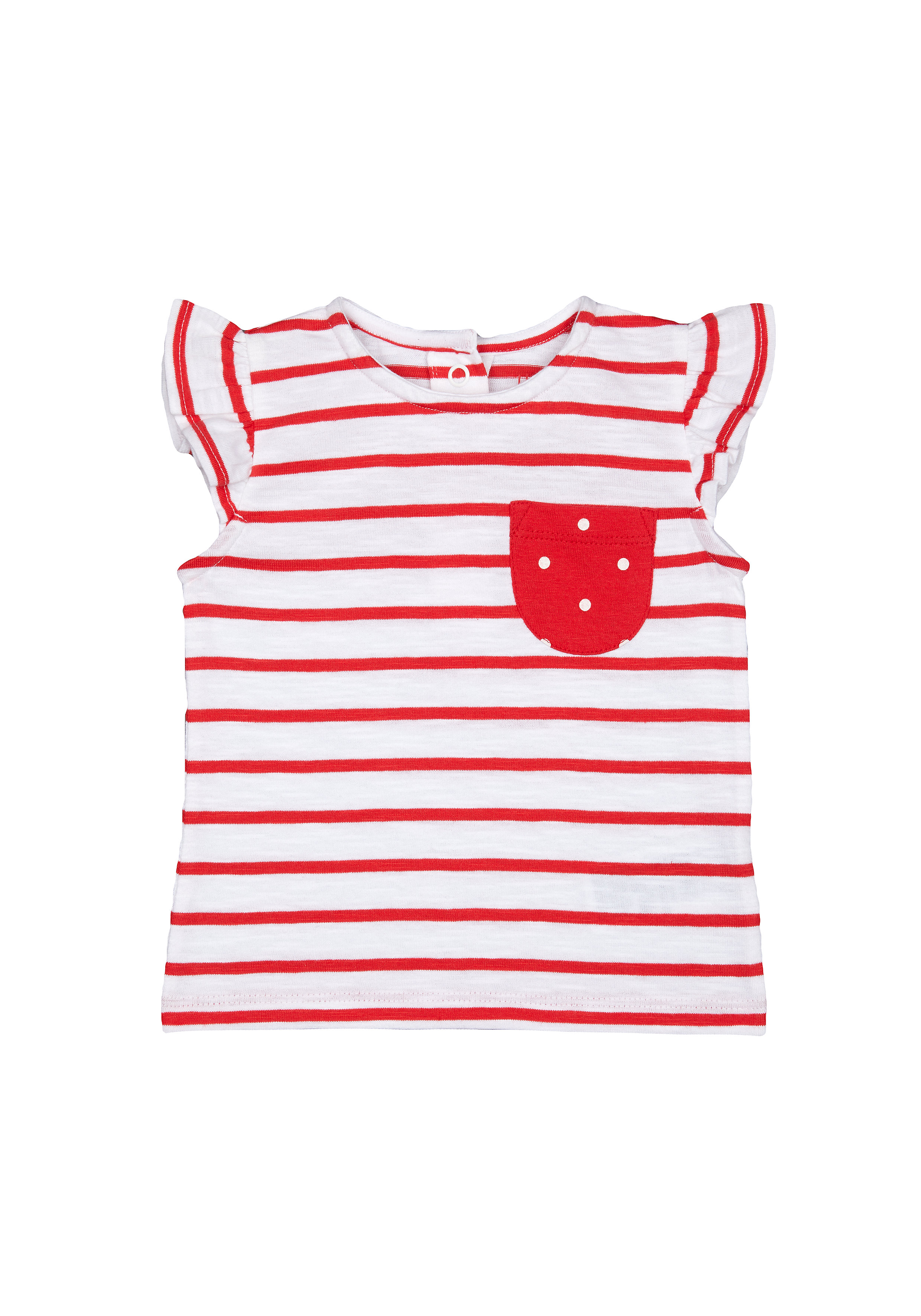 Mothercare | Girls Half Sleeves T-Shirt Striped - Red