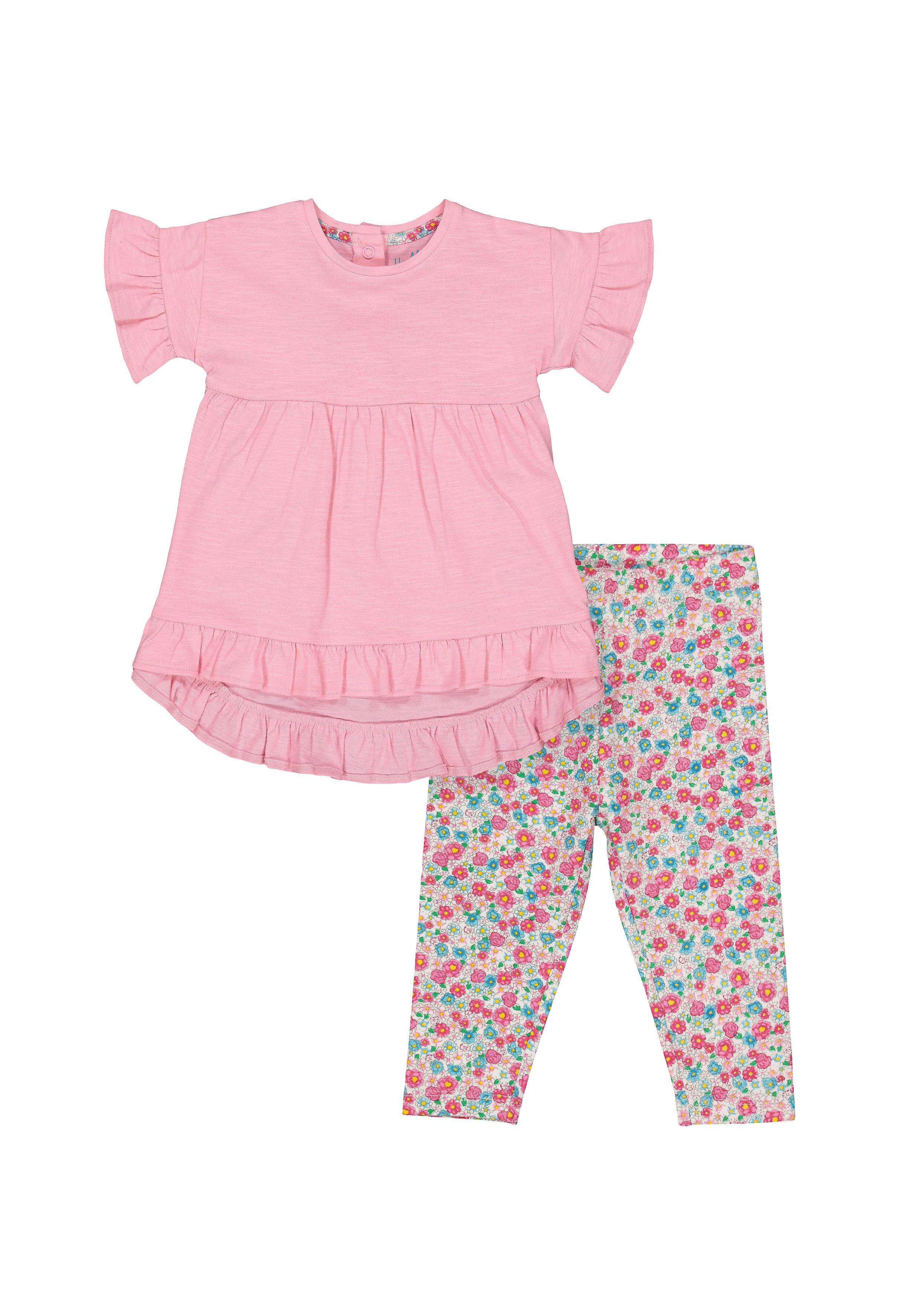 Mothercare   Girls Half Sleeves T-Shirt And Legging Set Floral Print - Pink