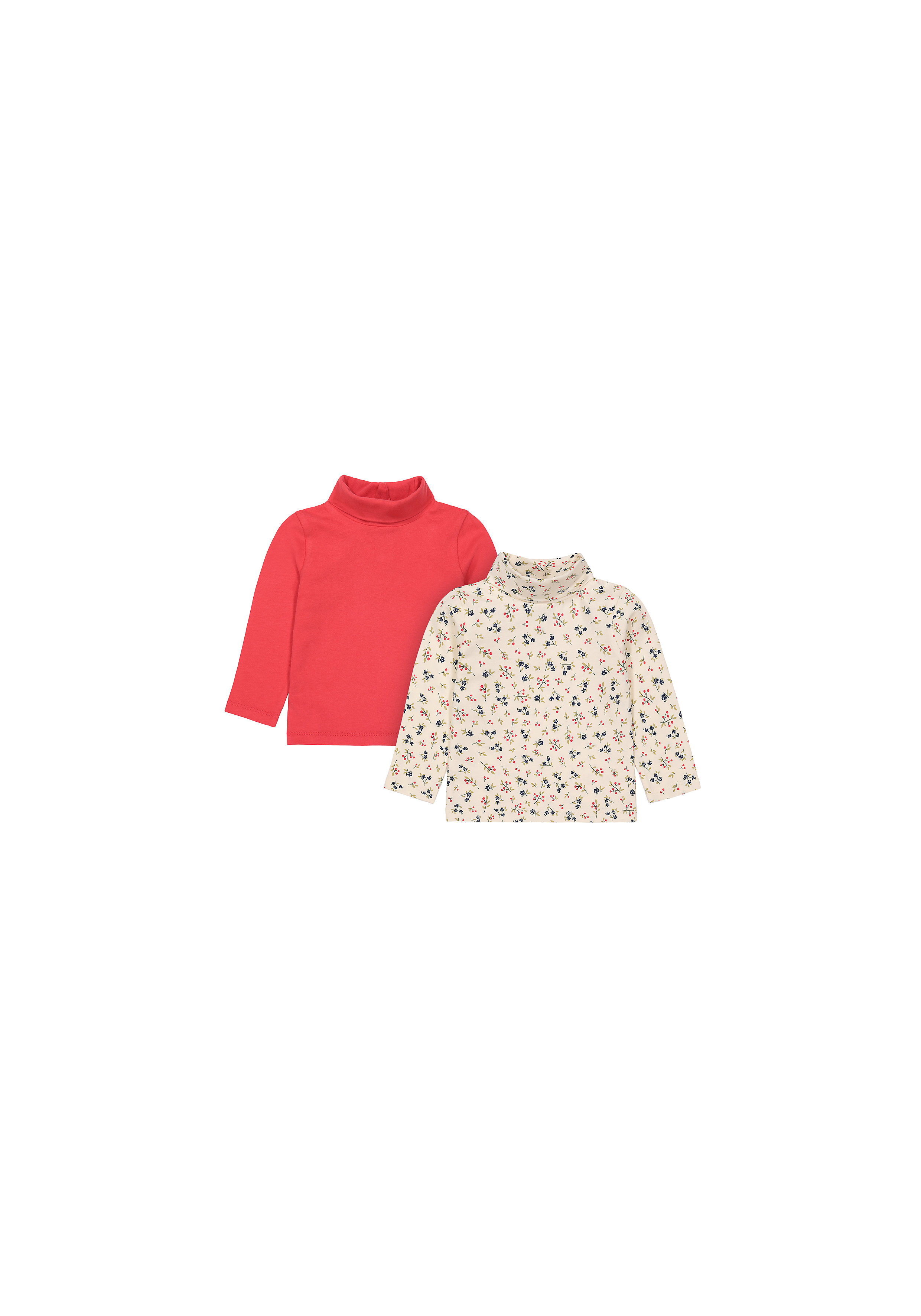 Mothercare | Girls Full Sleeves Rollneck Top Printed - Pack Of 2 - Multicolor