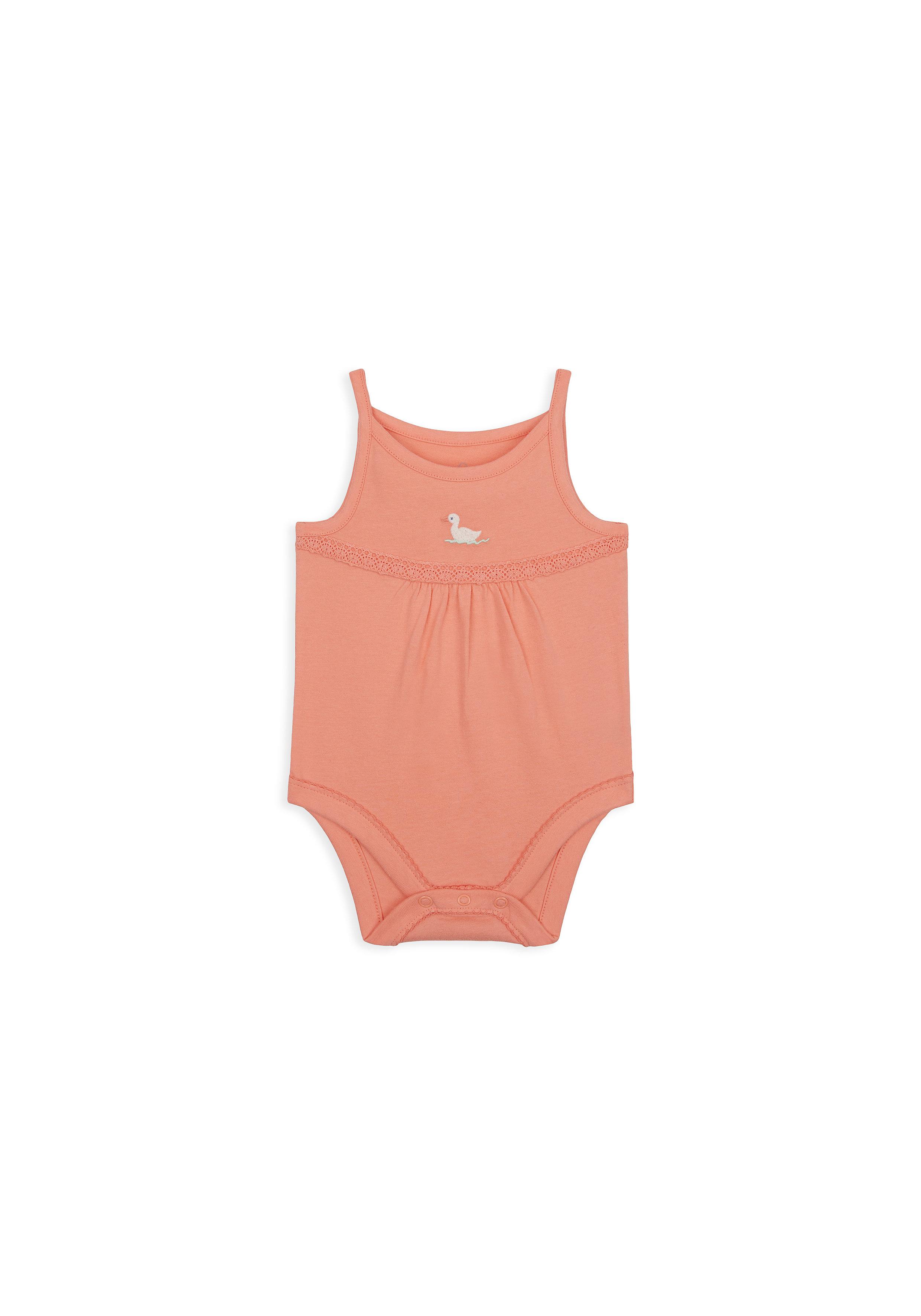 Mothercare   Girls Sleeveless Bodysuit Lace Detail - Pink