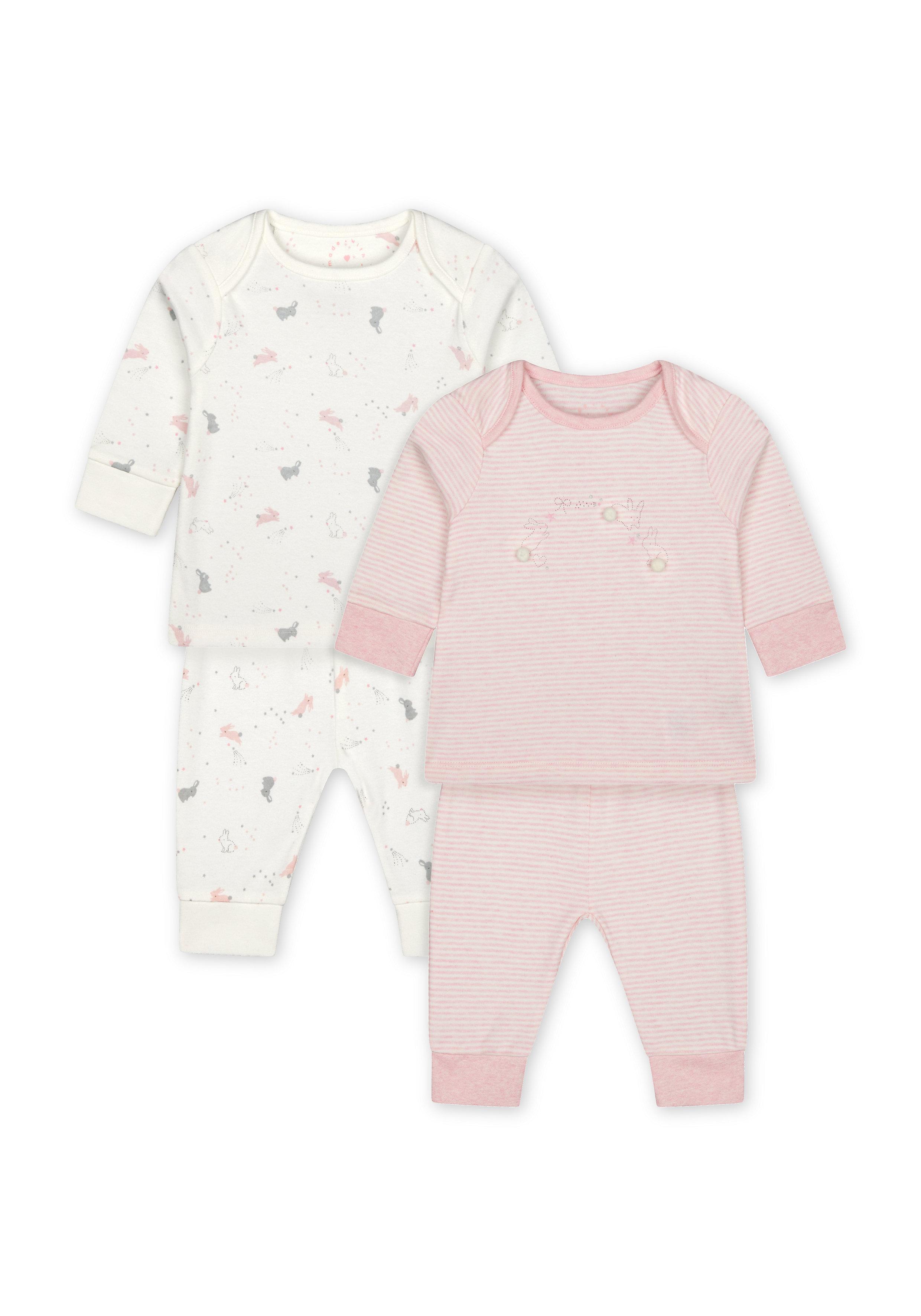 Mothercare | Girls Full Sleeves Pyjama Set Bunny Print - Pack Of 2 - Pink