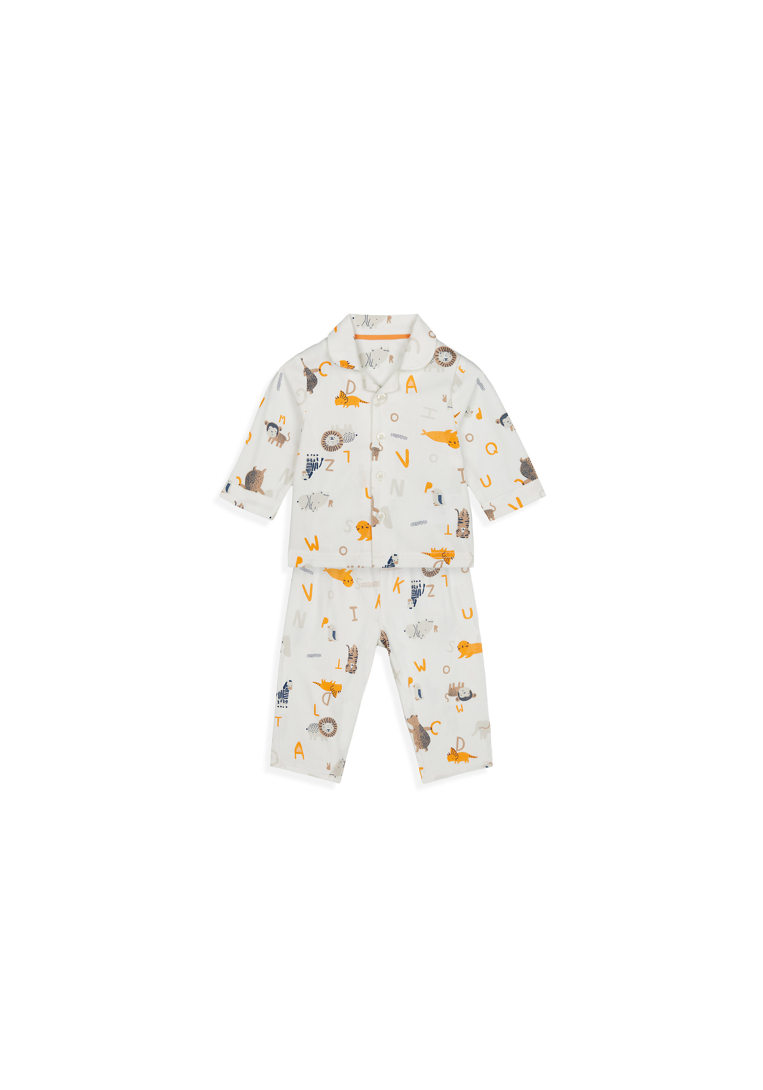 Mothercare | Boys Full Sleeves Pyjama Set Animal Print - White