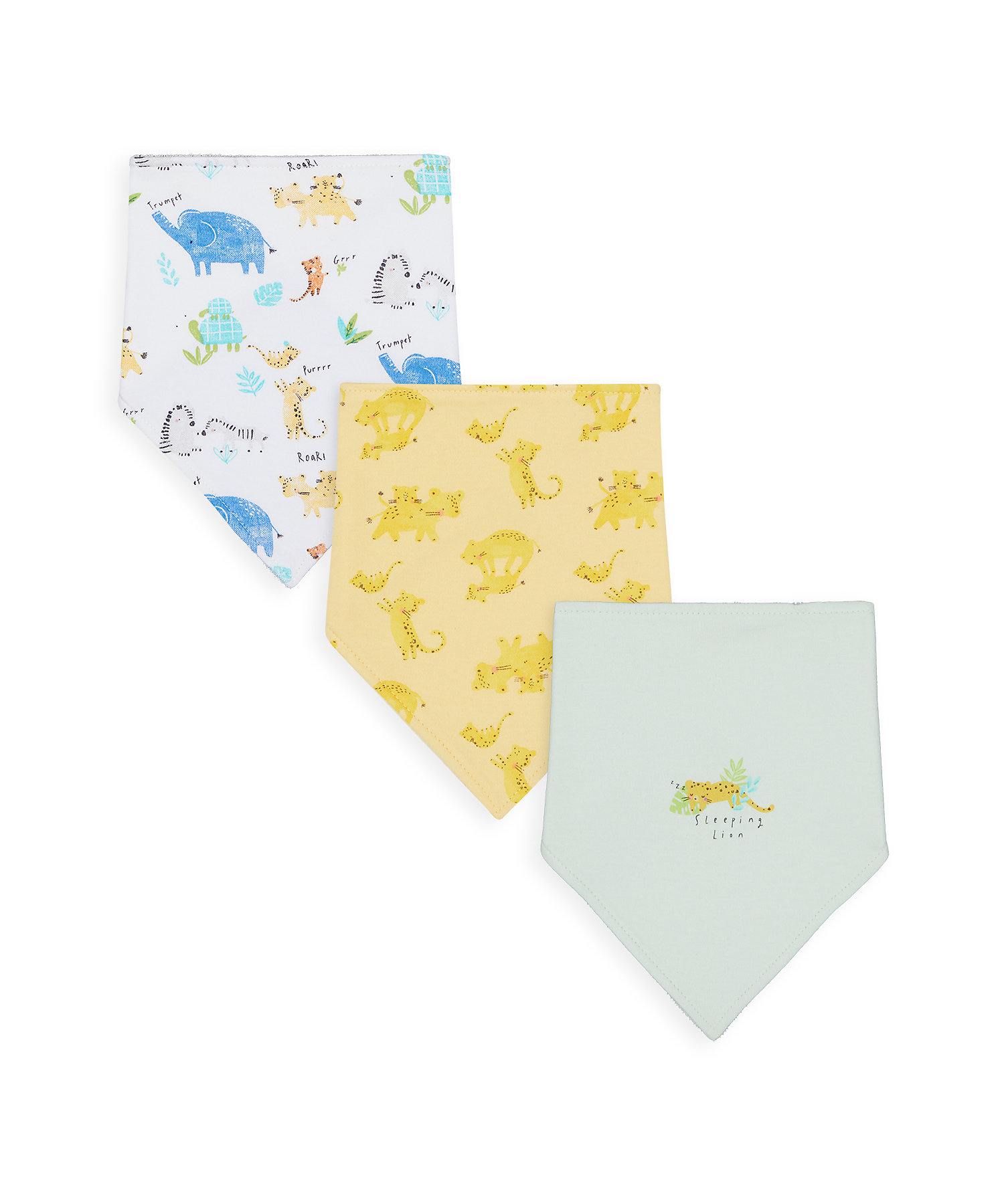 Mothercare | Unisex Bibs Animal Print - Pack Of 3 - Multicolor
