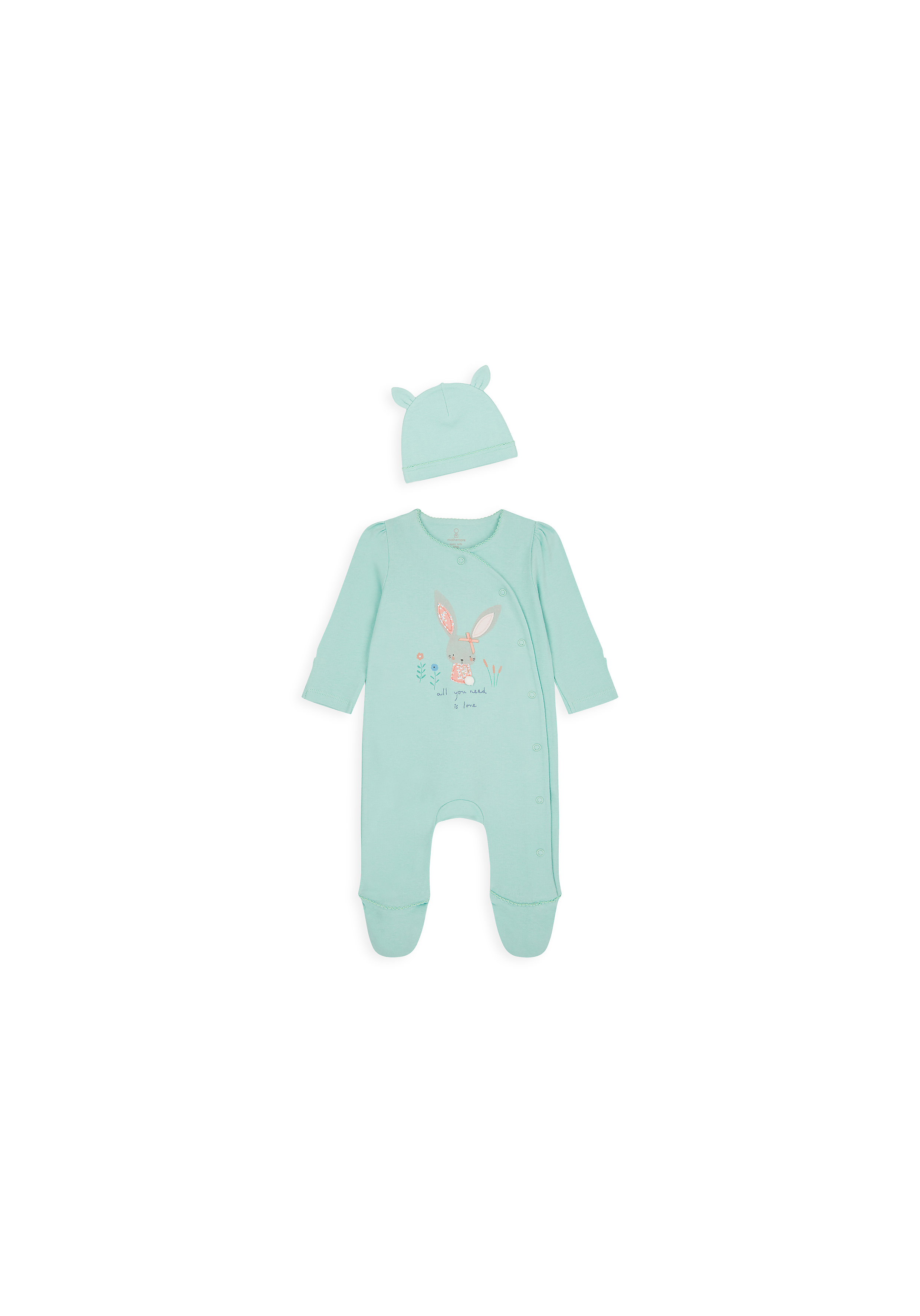 Mothercare | Girls Full Sleeves Romper Bunny Patch Work - Green
