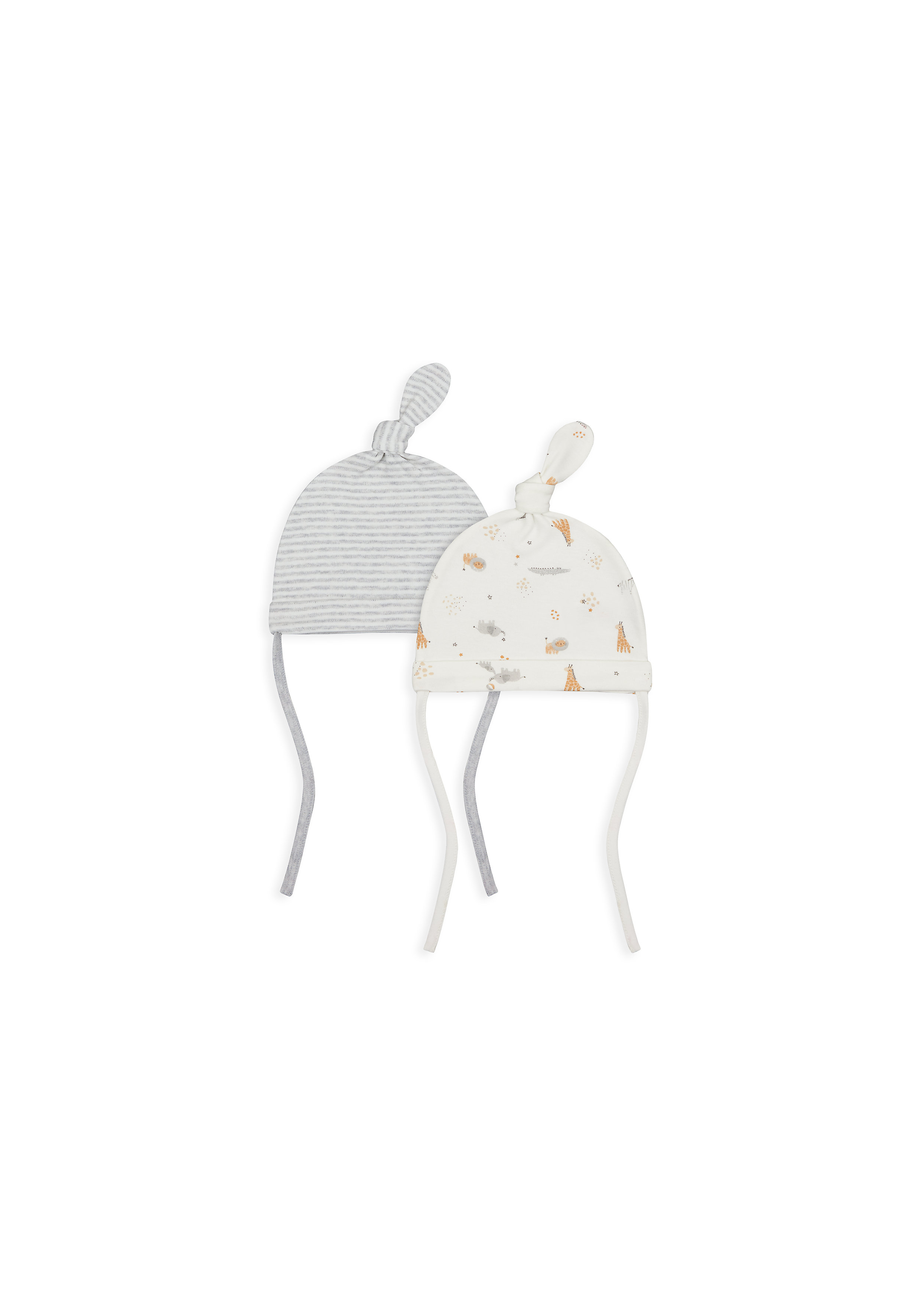 Mothercare | Unisex Hat Striped And Printed - Pack Of 2 - Grey & White