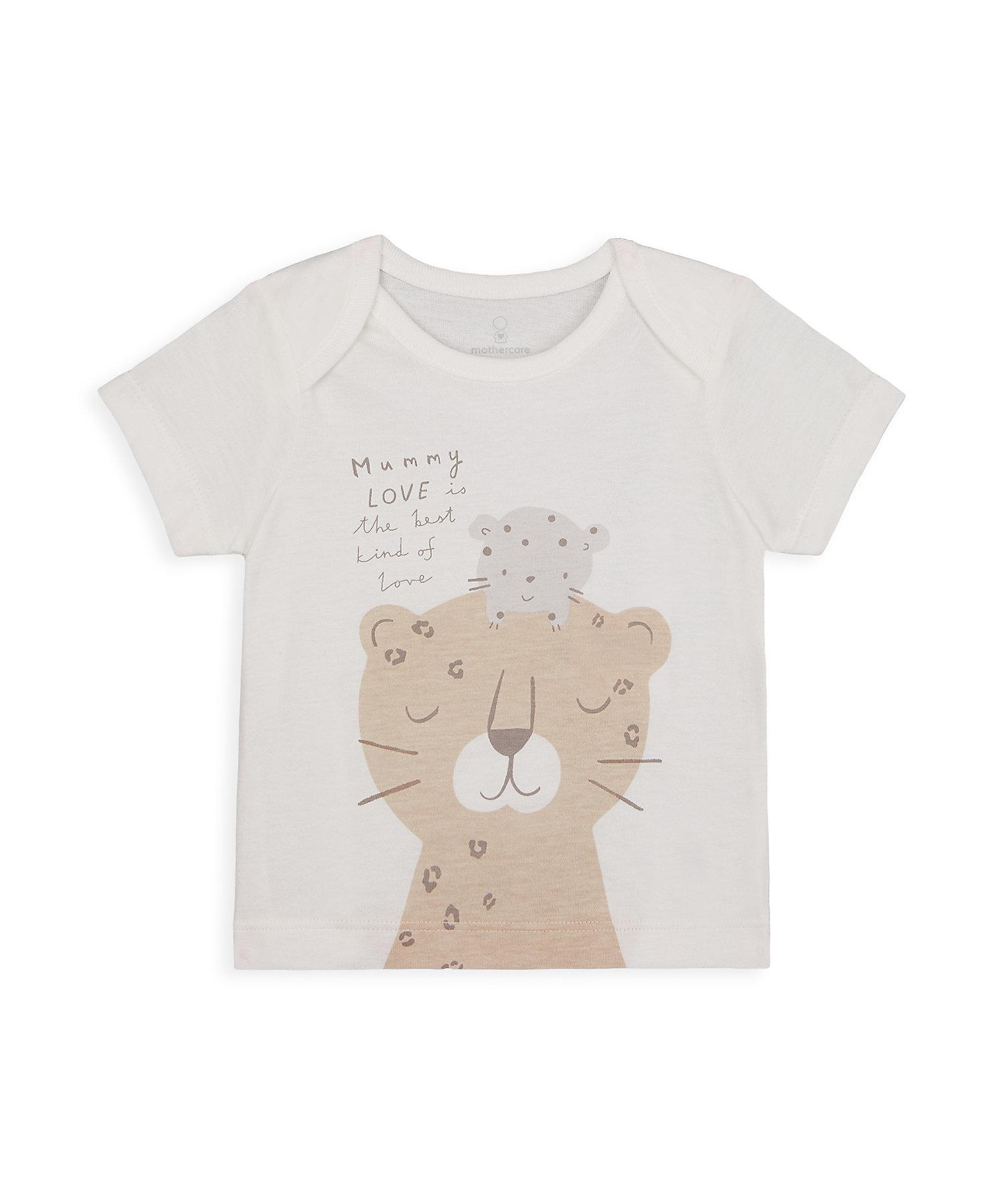 Mothercare | Unisex Half Sleeves T-Shirt Leopard Print - White