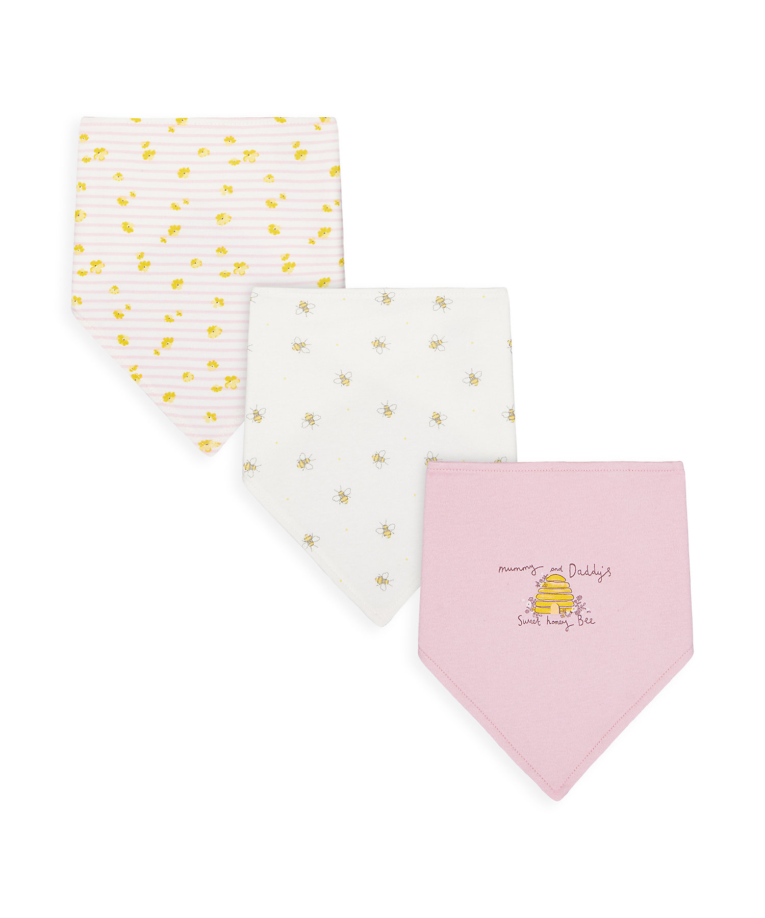 Mothercare | Girls Bibs Printed - Pack Of 3 - Multicolor