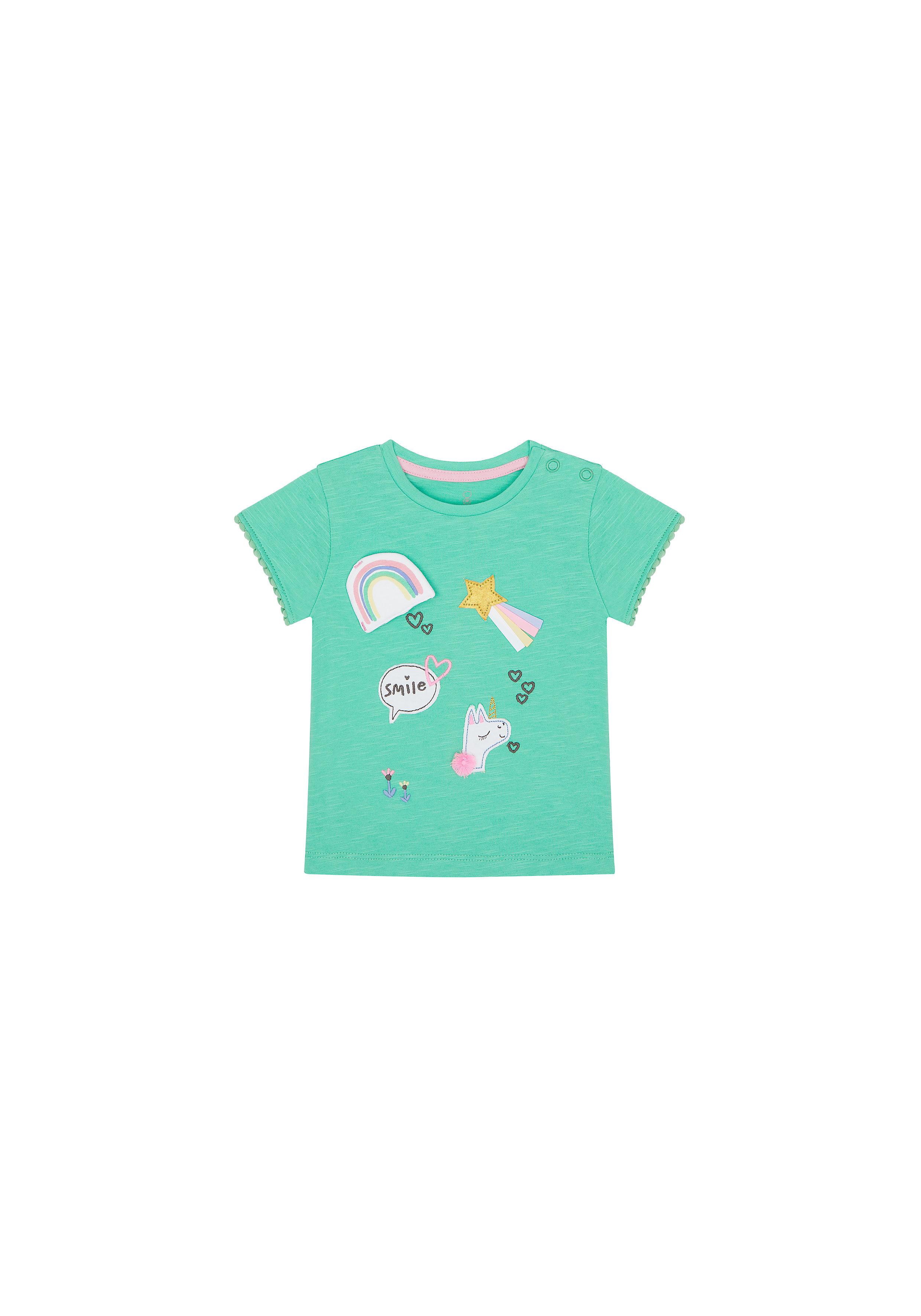 Mothercare | Girls Half Sleeves T-Shirt Unicorn Patchwork - Green