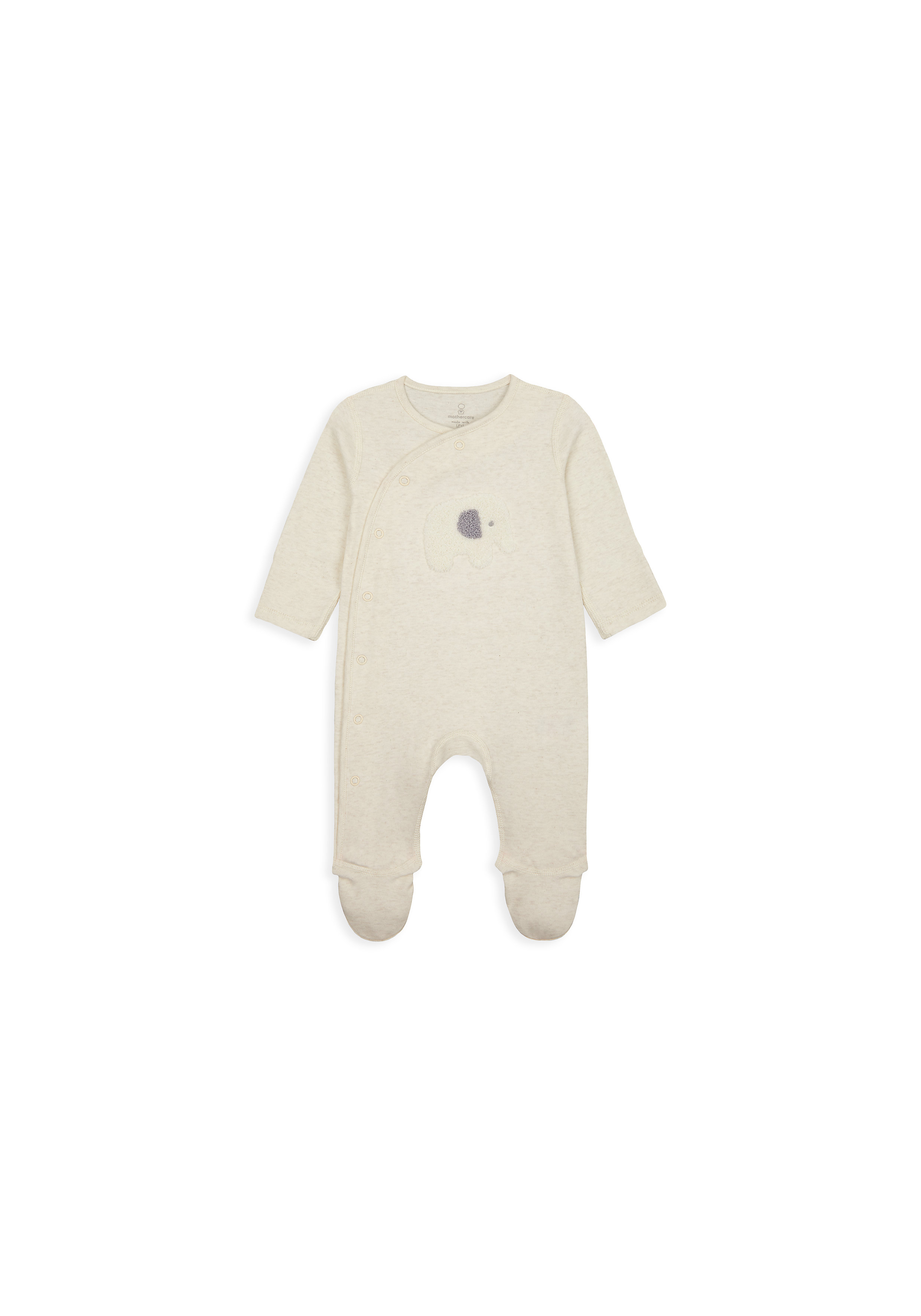 Mothercare   Unisex Full Sleeves Romper Elephant Patch Work - Beige