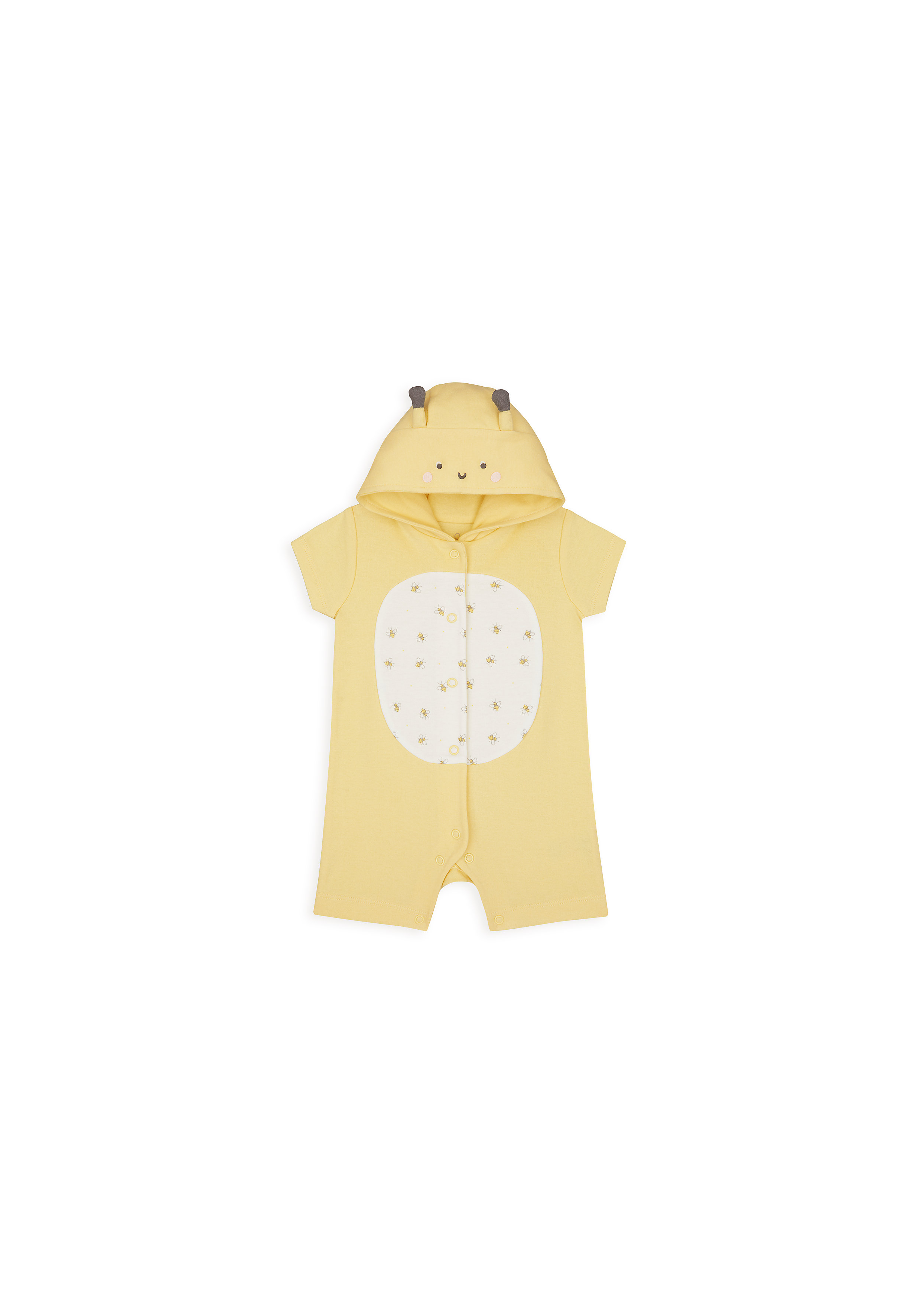 Mothercare | Girls Half Sleeves Romper Bee 3D Details - Yellow