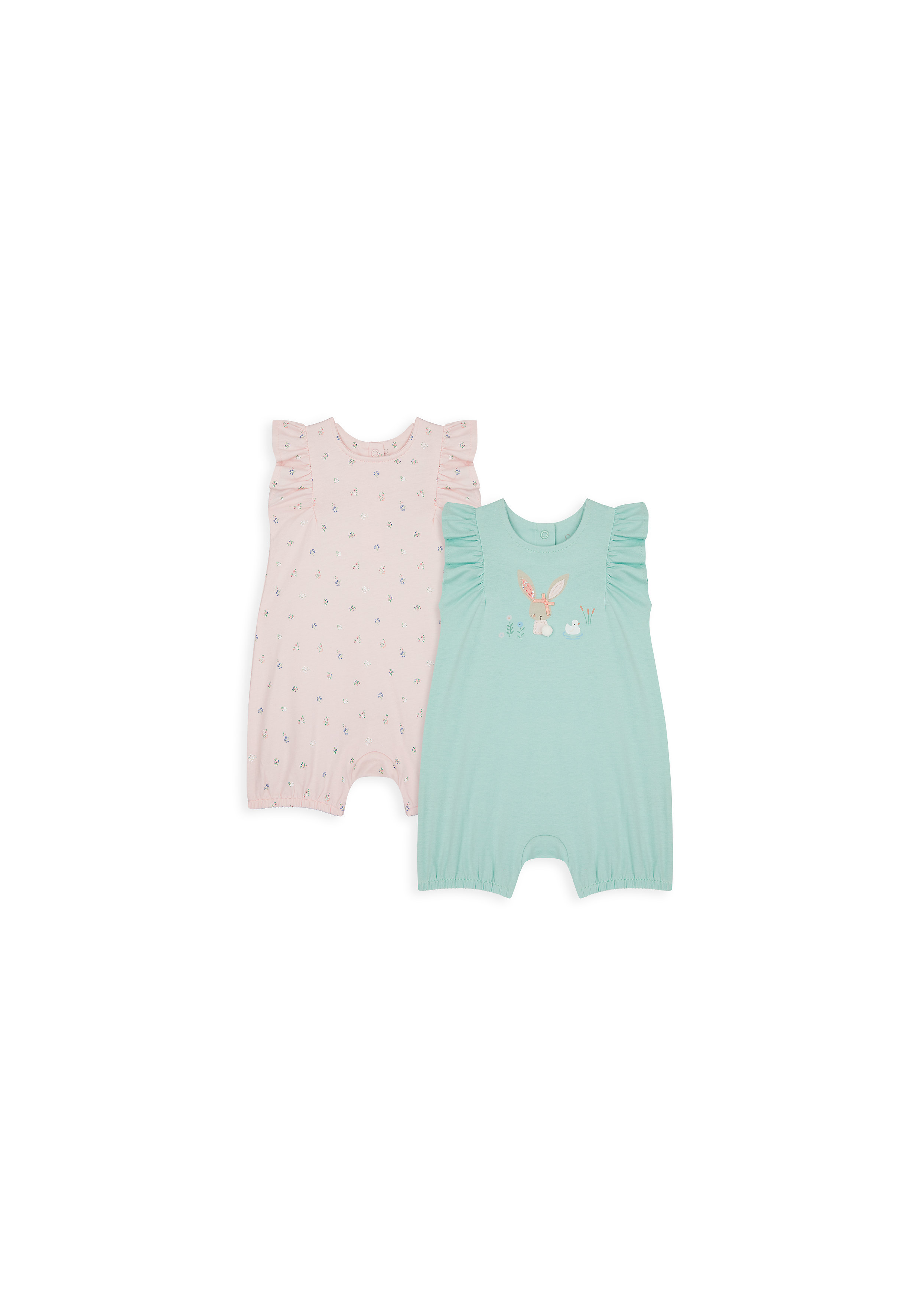 Mothercare | Girls Sleeveless Romper Bunny Patch Work - Pack Of 2 - Multicolor