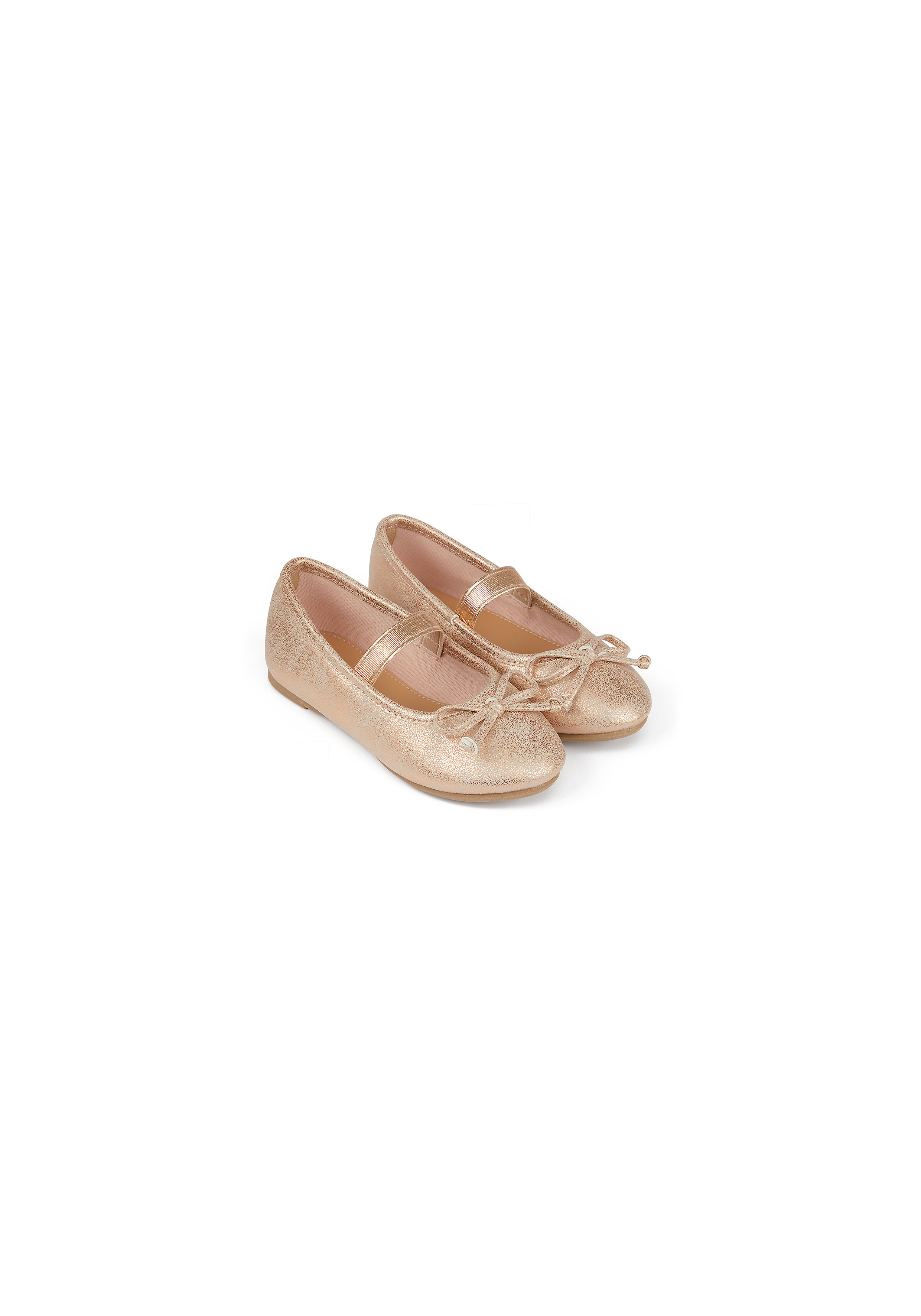 Mothercare | Girls Ballerina Shoes Bow Detail - Rose Gold