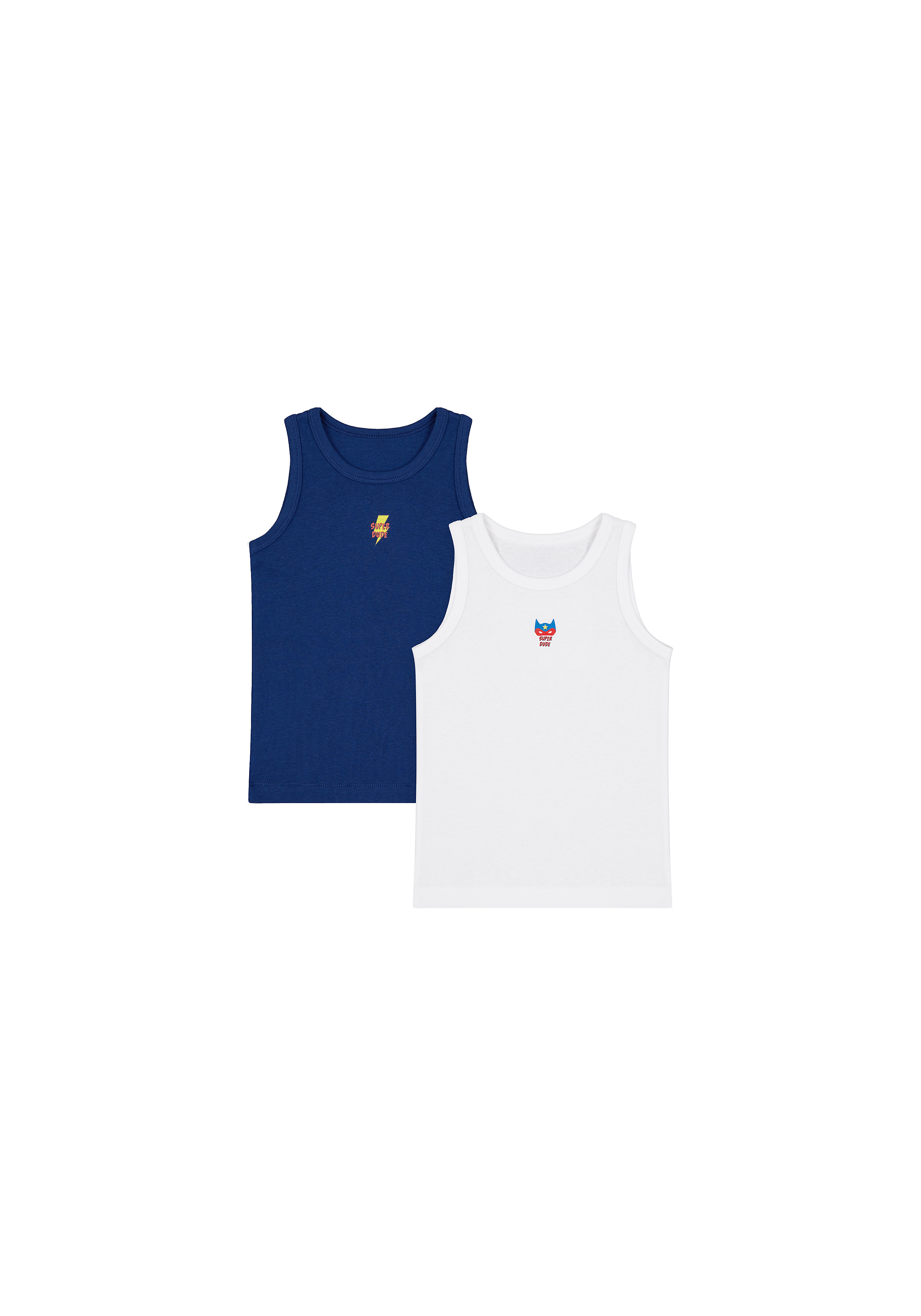 Mothercare | Boys Sleeveless Vest Text Print - Pack Of 2 - Navy White