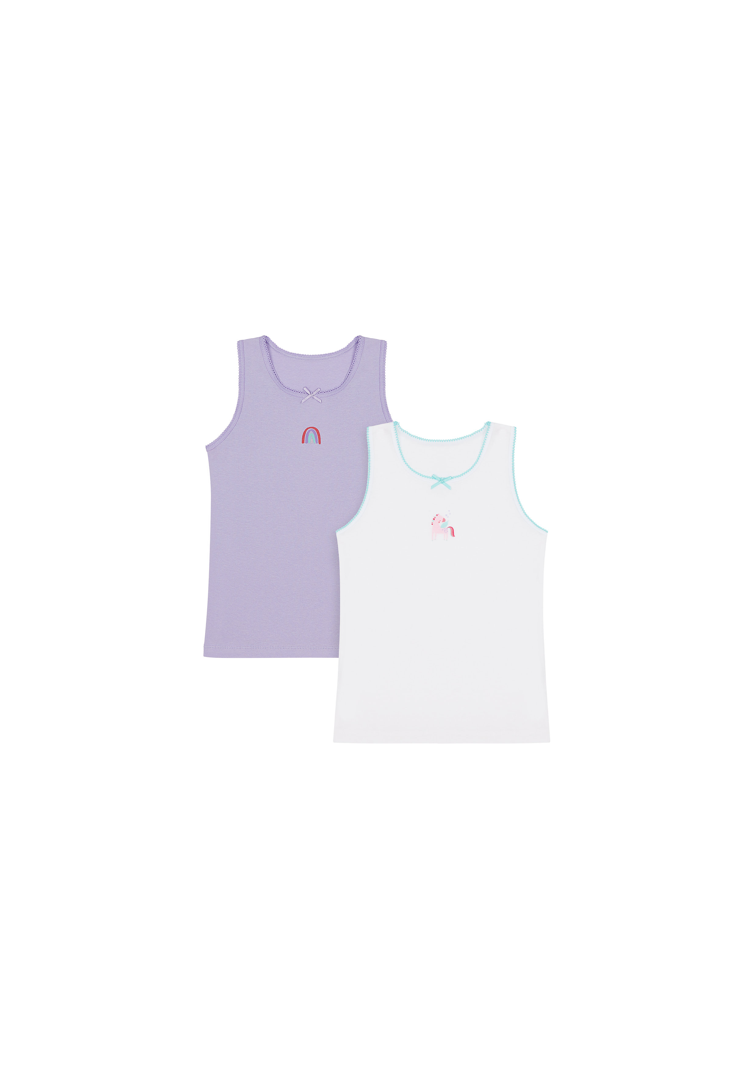 Mothercare | Girls Sleeveless Vest Unicorn Print - Pack Of 2 - Purple White