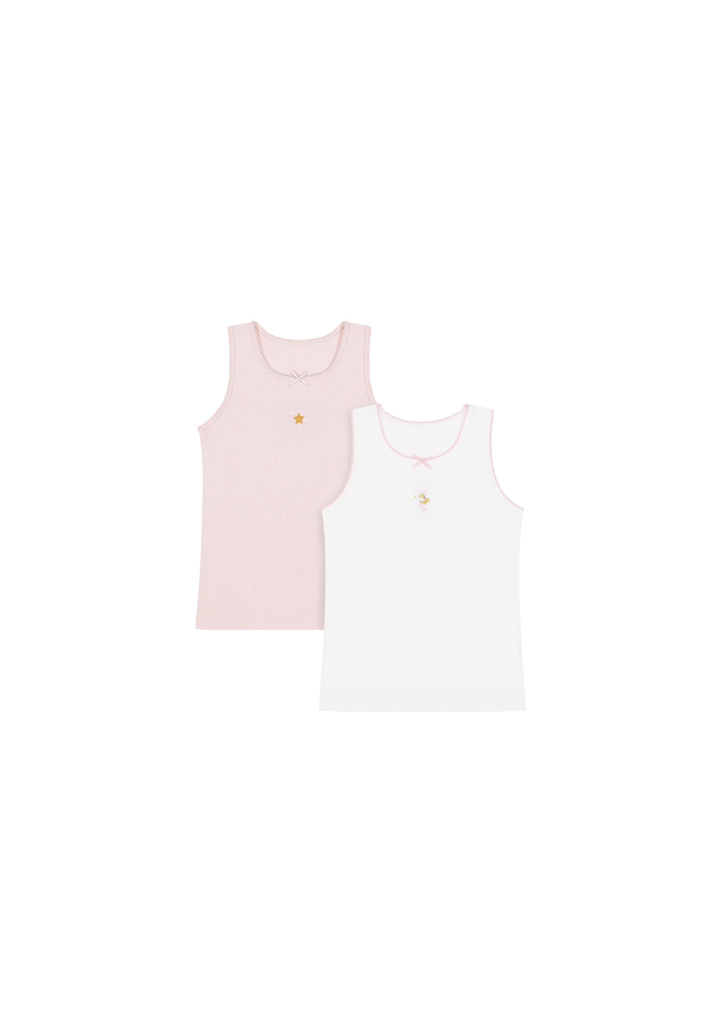 Mothercare | Girls Sleeveless Vest Fairy Sparkle Print - Pack Of 2 - Pink White