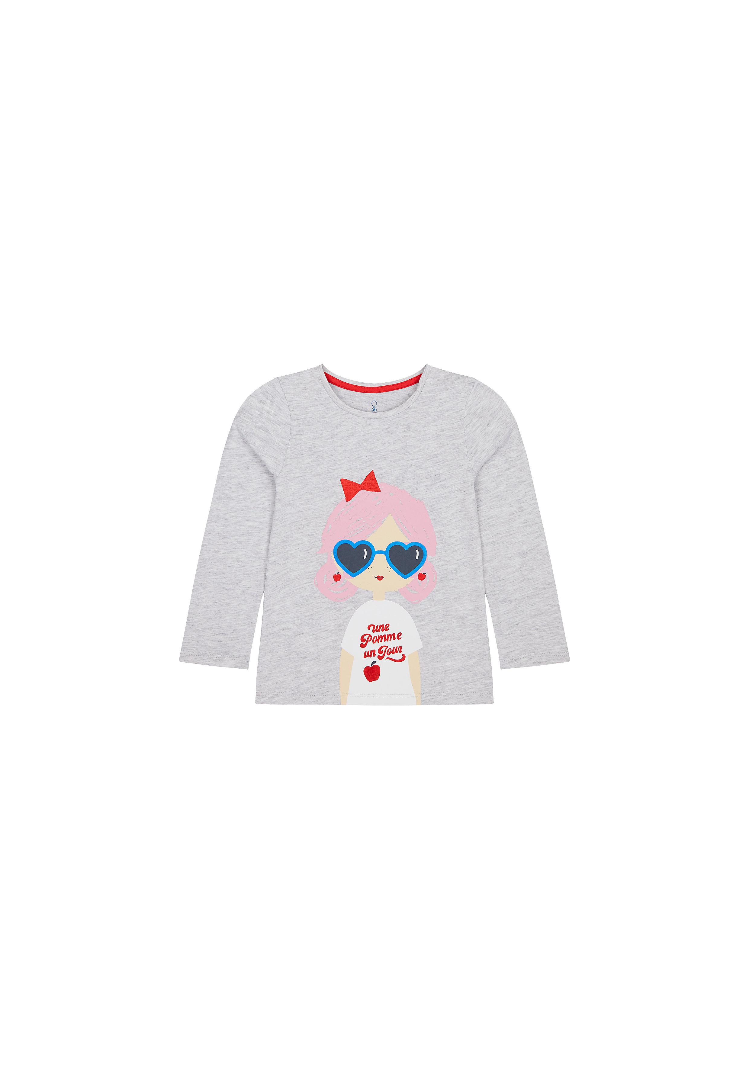 Mothercare | Girls Full Sleeves T-Shirt Girl Print - Grey