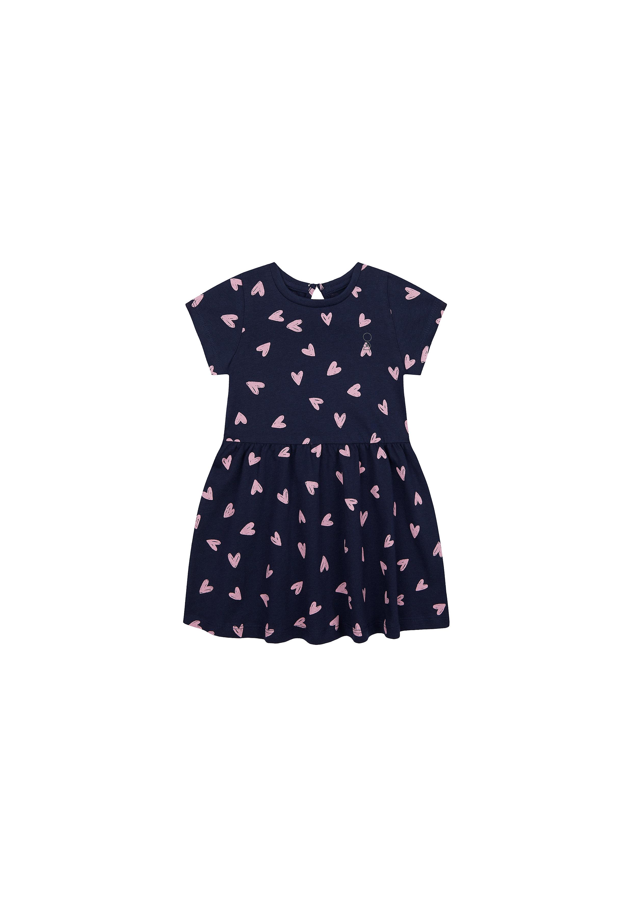 Mothercare | Girls Half Sleeves Dress Heart Print - Navy