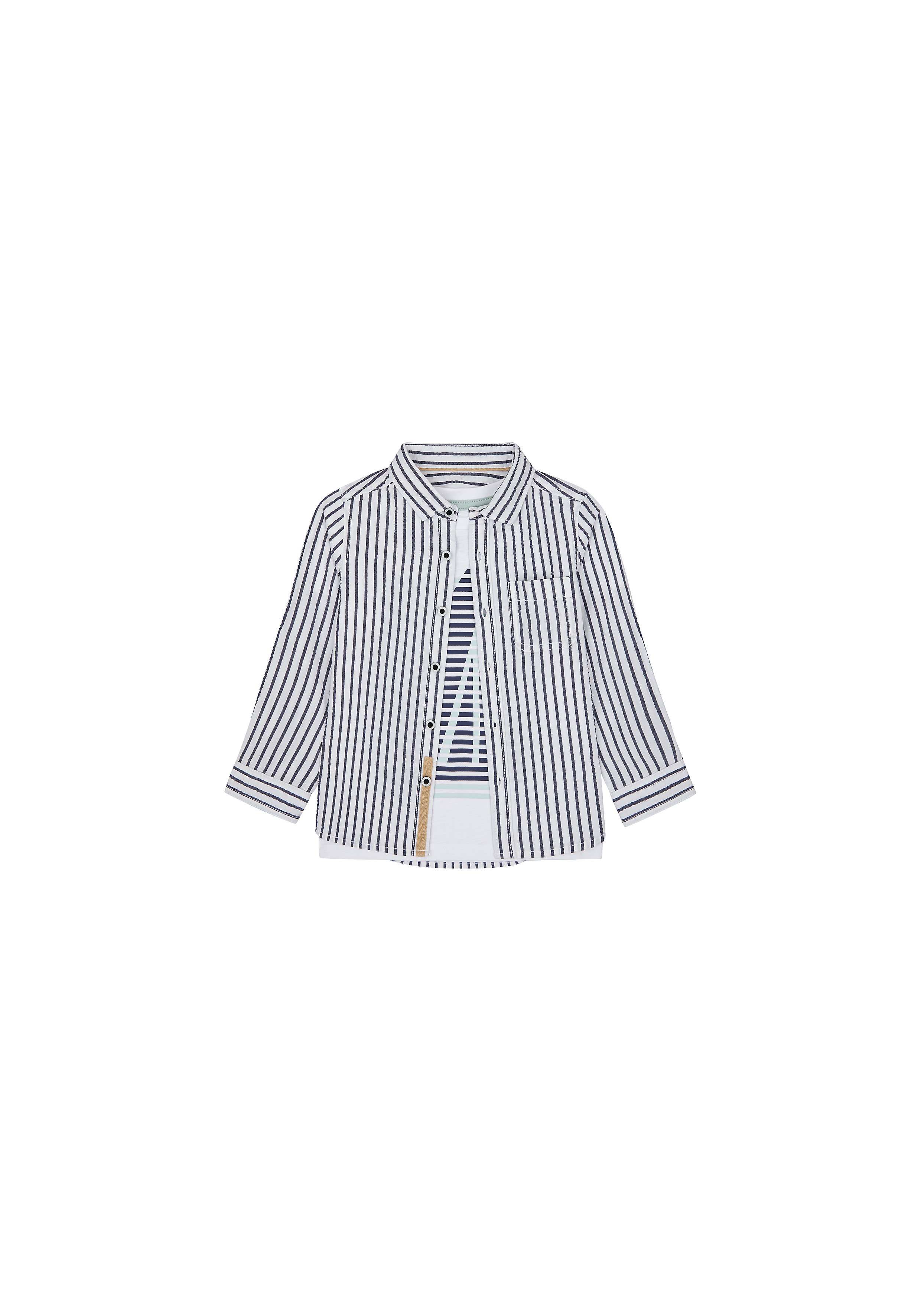 Mothercare | Boys Full Sleeves Shirt And Tee Set Striped - Navy White