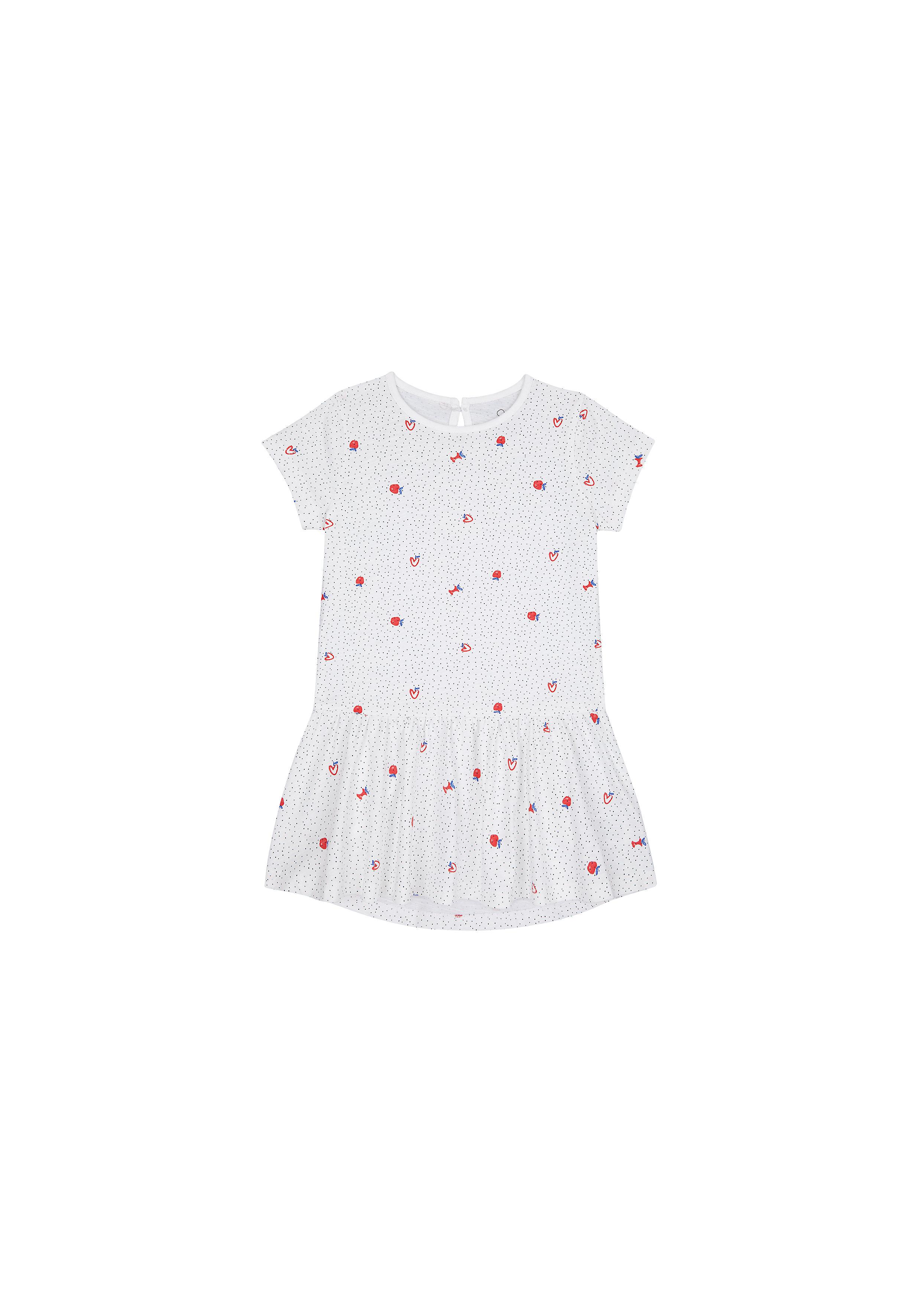 Mothercare | Girls Half Sleeves Dress Apple Print - White