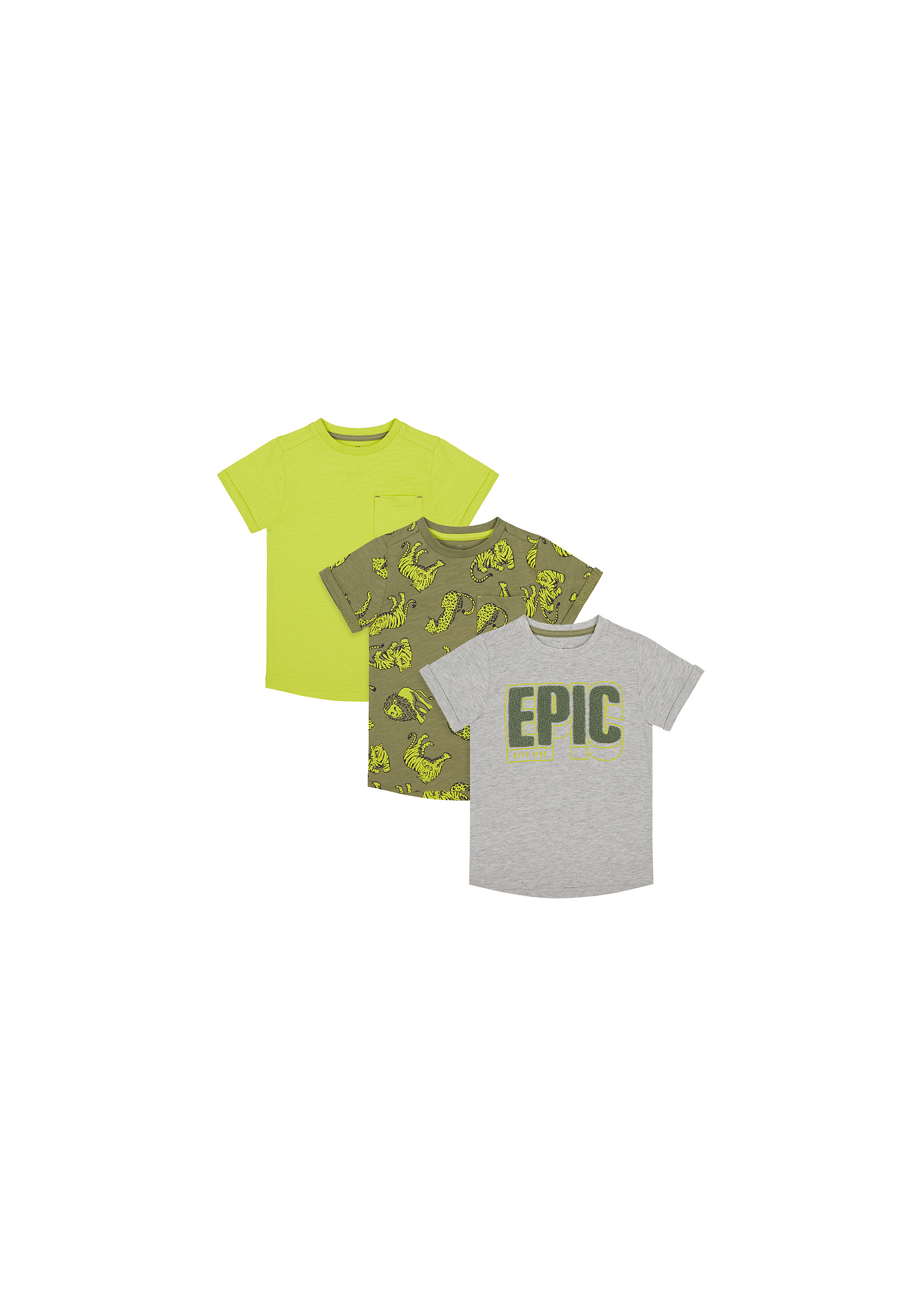 Mothercare | Boys Half Sleeves T-Shirt Text Patchwork - Pack Of 3 - Multicolor