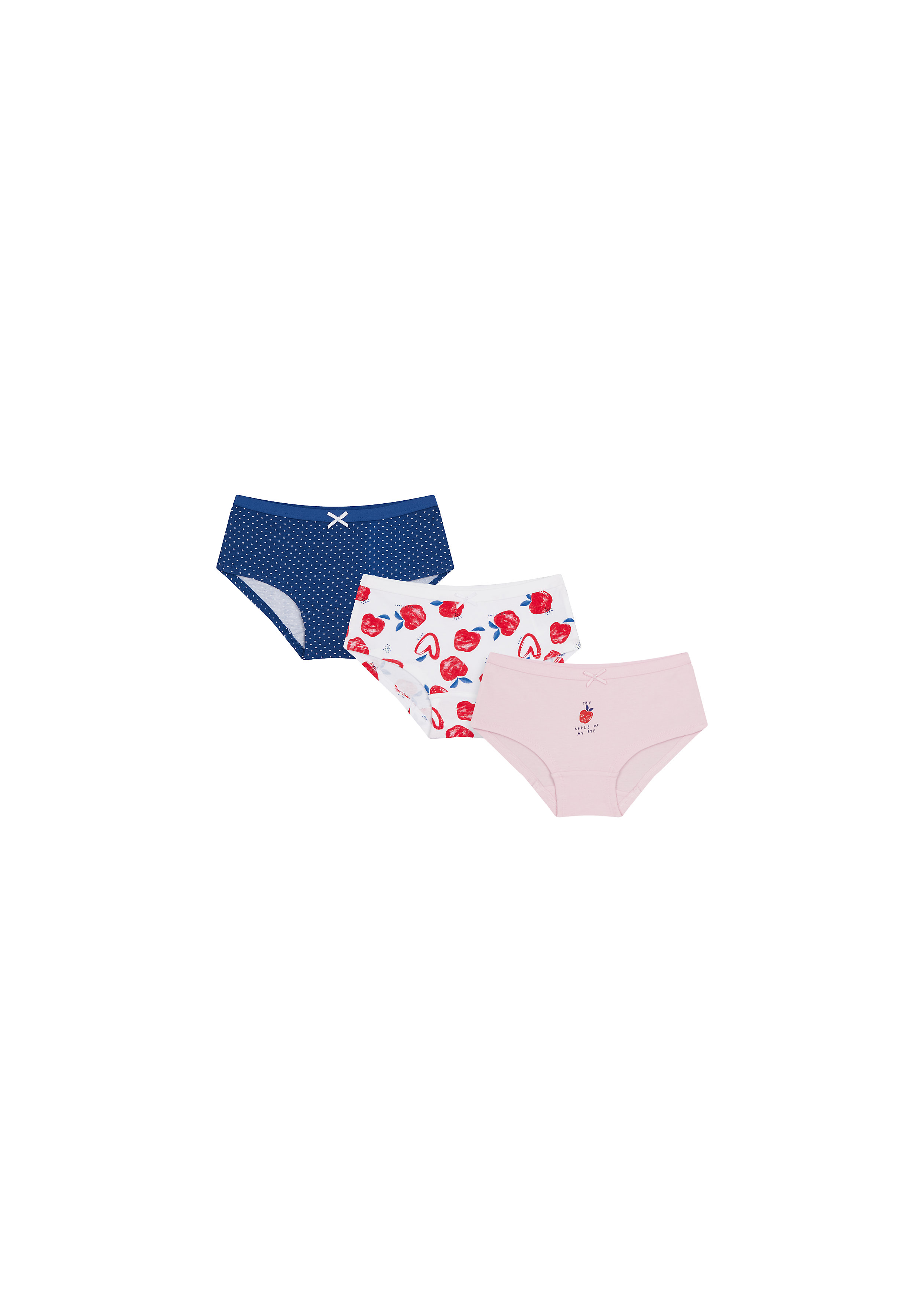 Mothercare | Girls Briefs Apple Print - Pack Of 3 - Multicolor