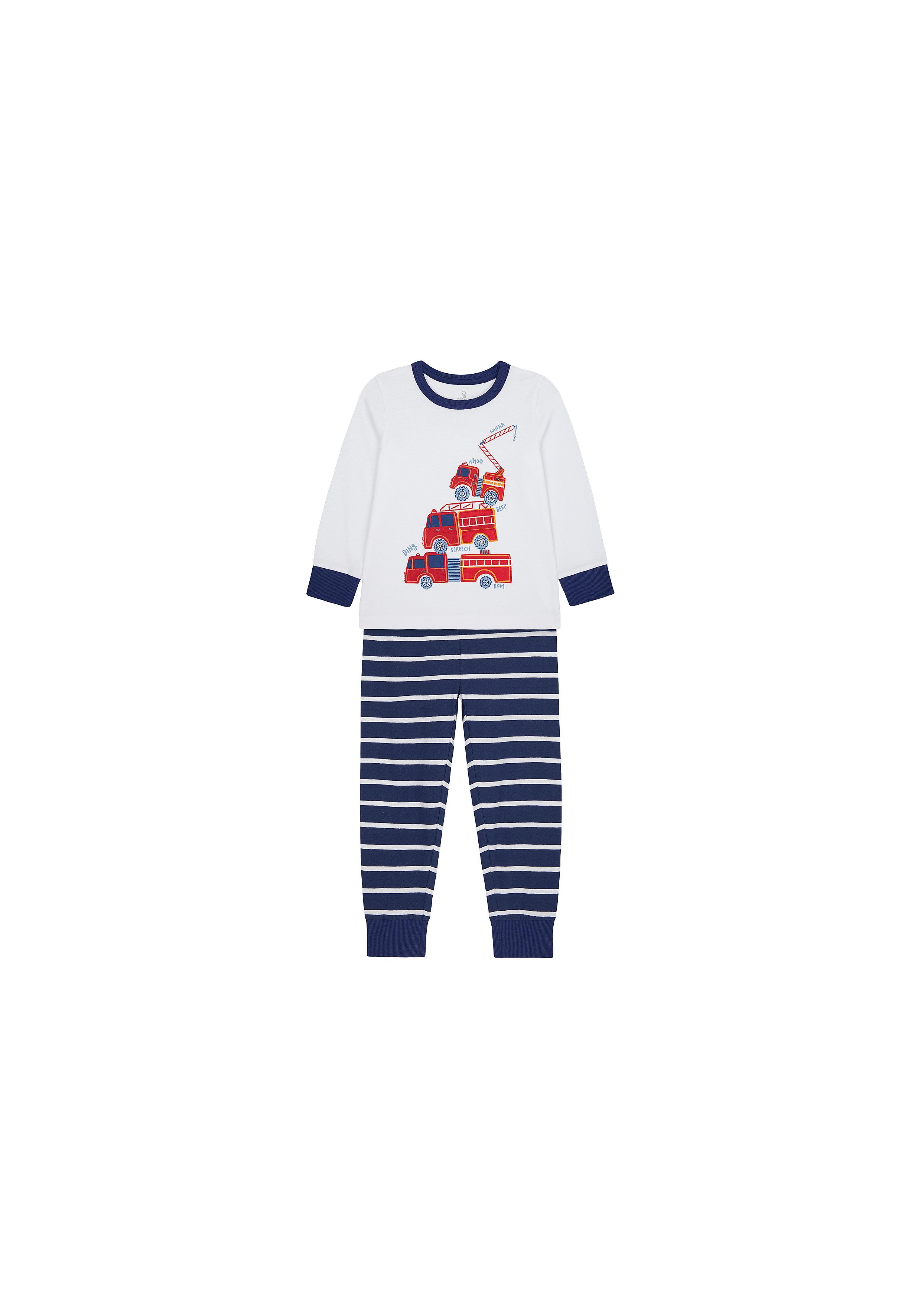 Mothercare   Boys Full Sleeves Pyjama Set Fire Engine Print - White Navy