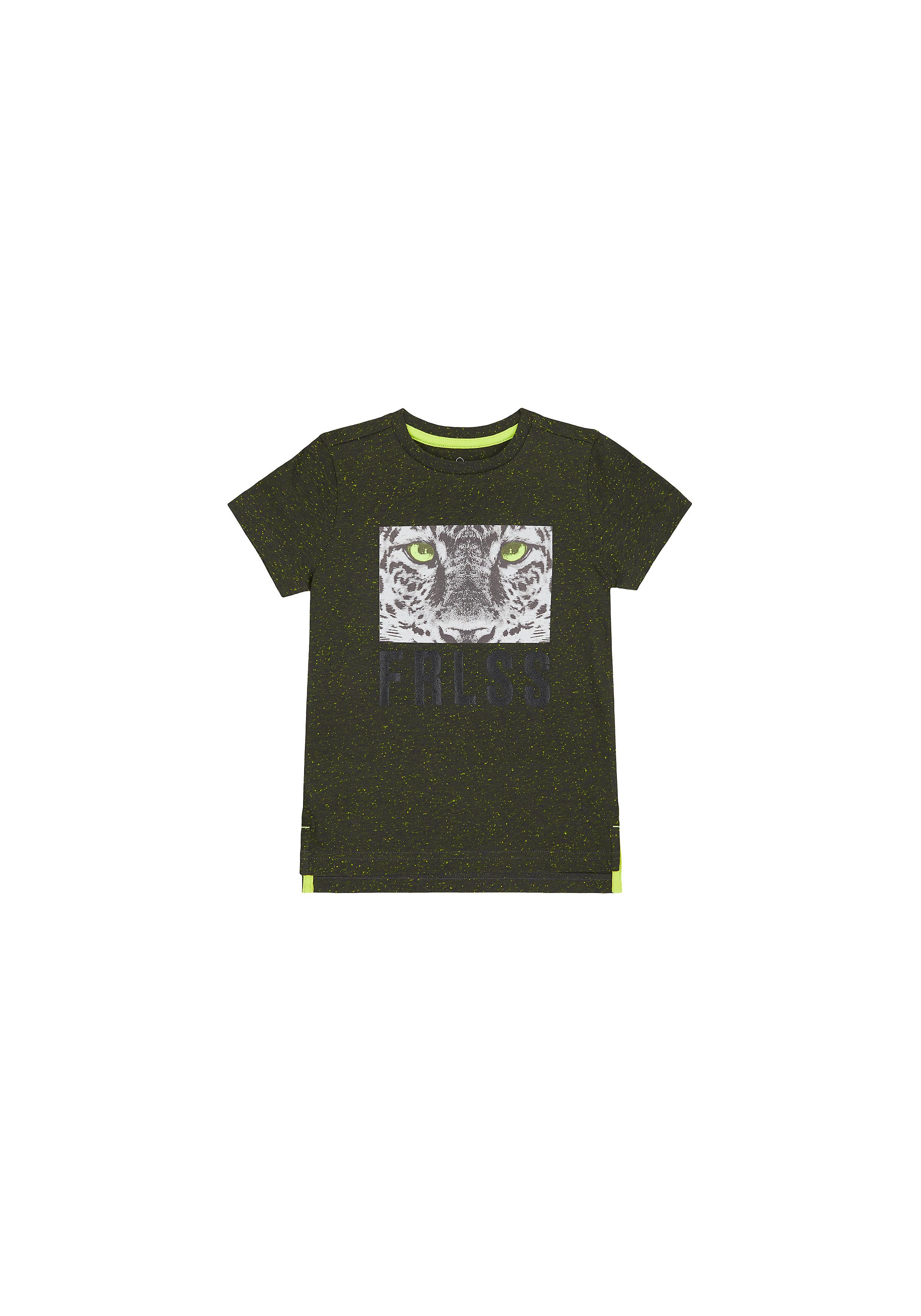 Mothercare | Boys Half Sleeves T-Shirt Leopard Print - Black