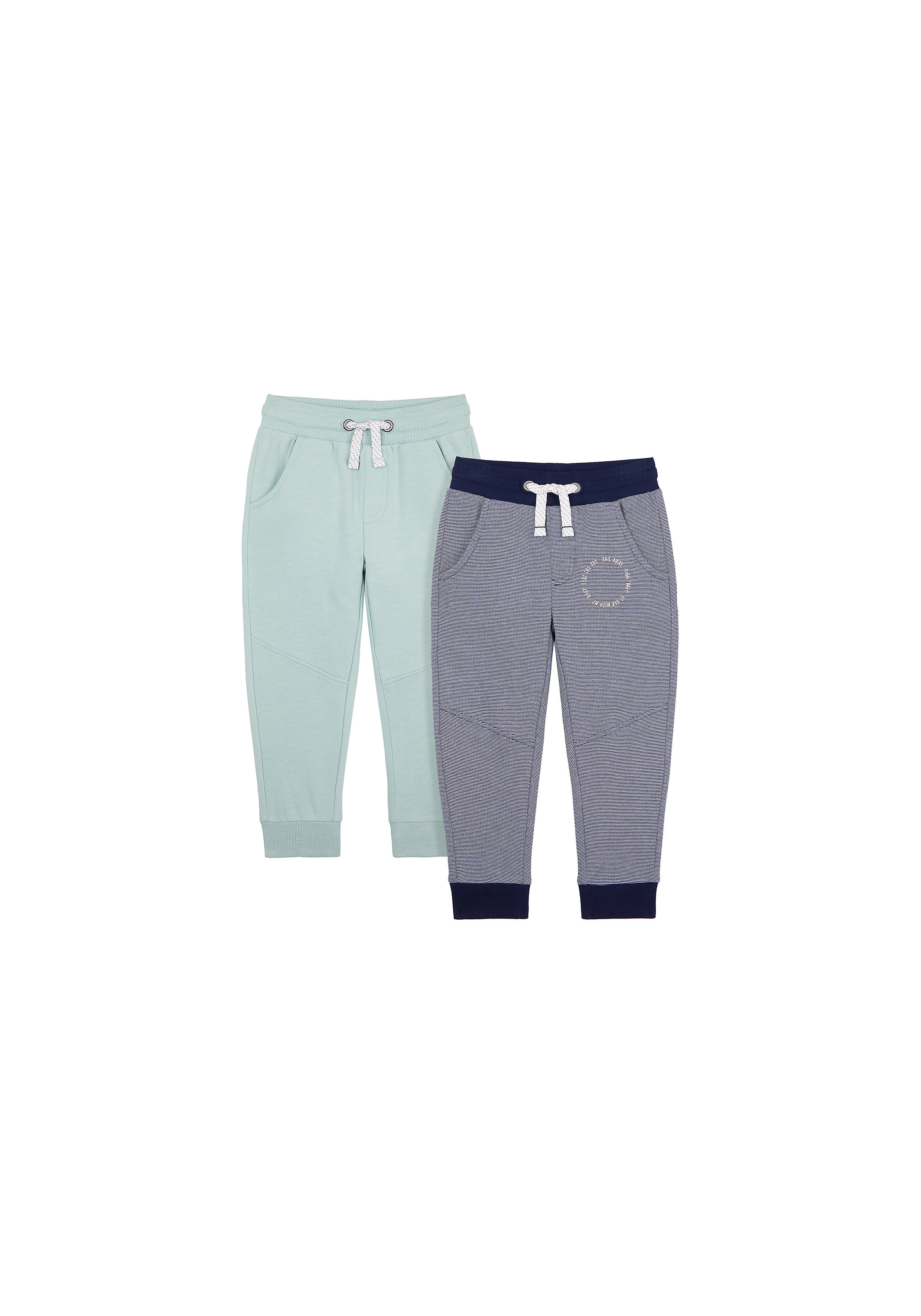 Mothercare | Boys Joggers Panel Detail - Pack Of 2 - Blue Navy