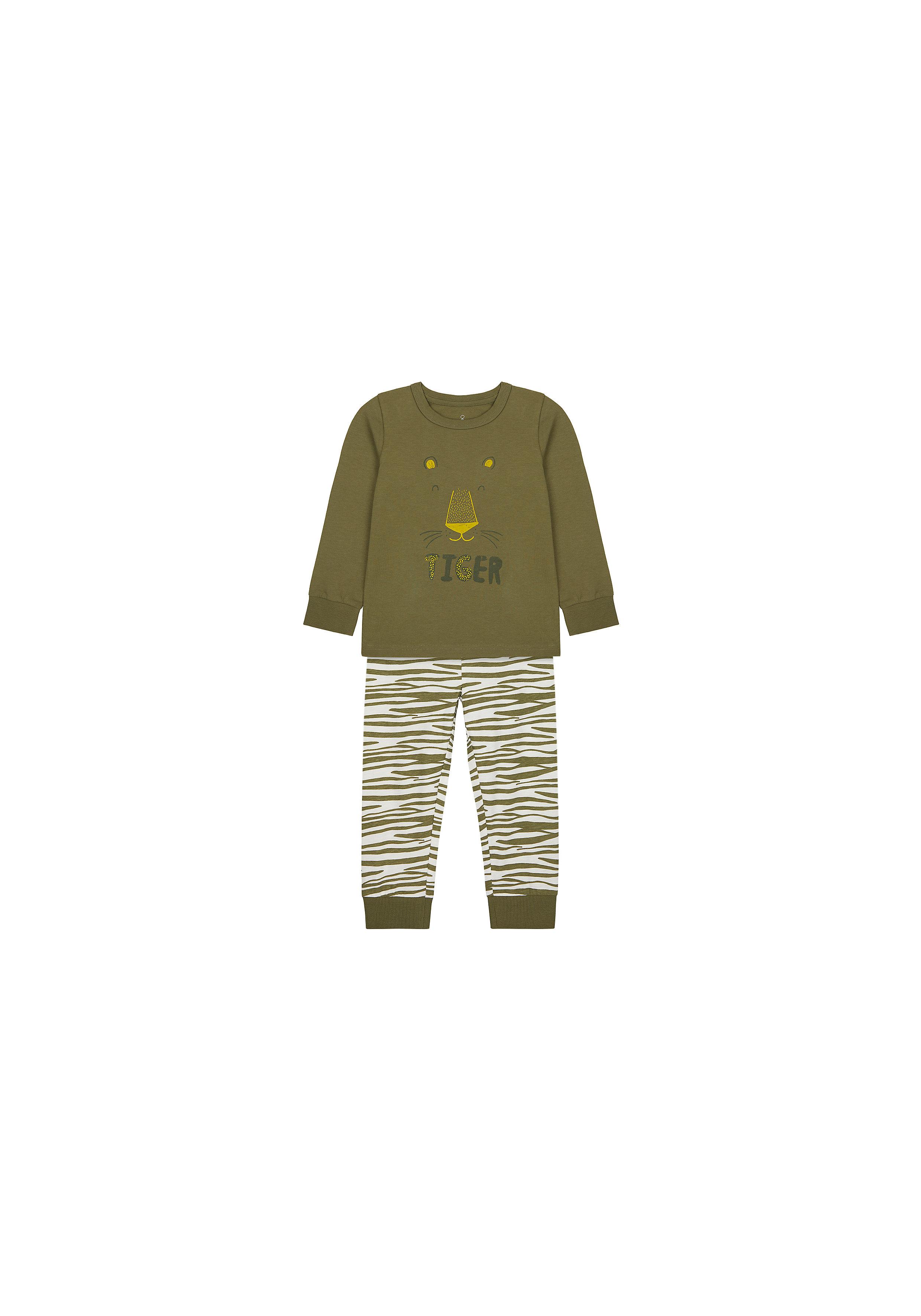 Mothercare   Boys Full Sleeves Pyjama Set Tiger Print - Green