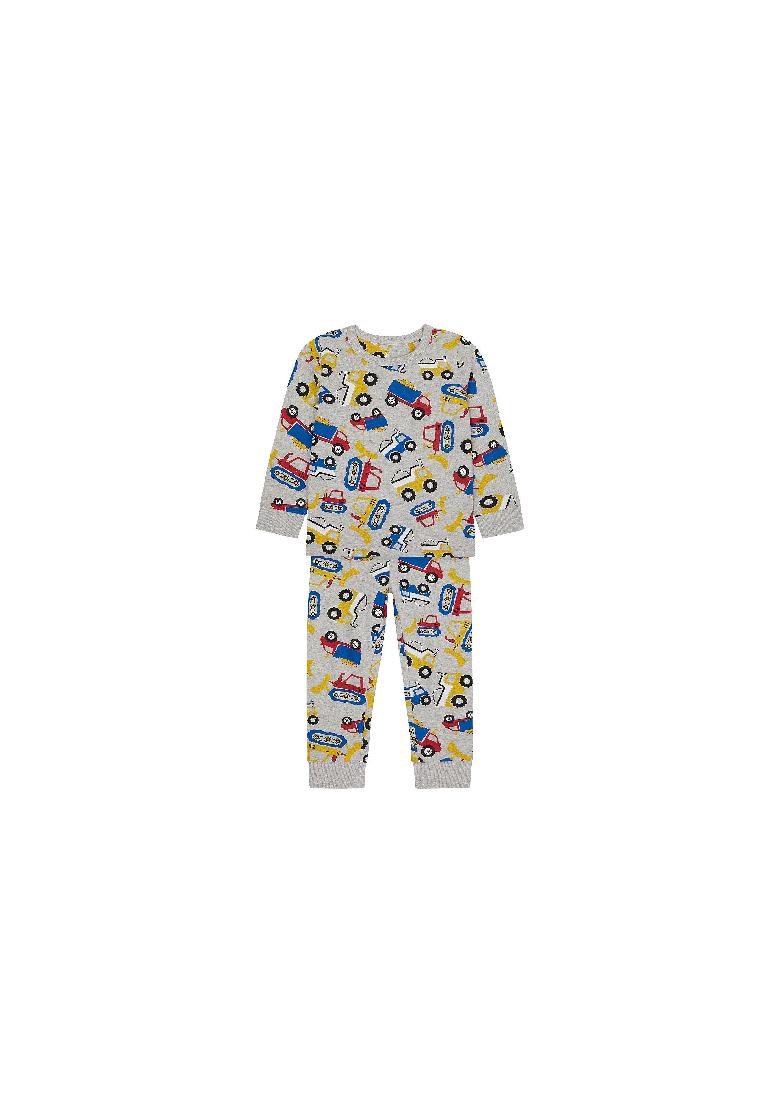 Mothercare   Boys Full Sleeves Pyjama Set Truck Print - Grey
