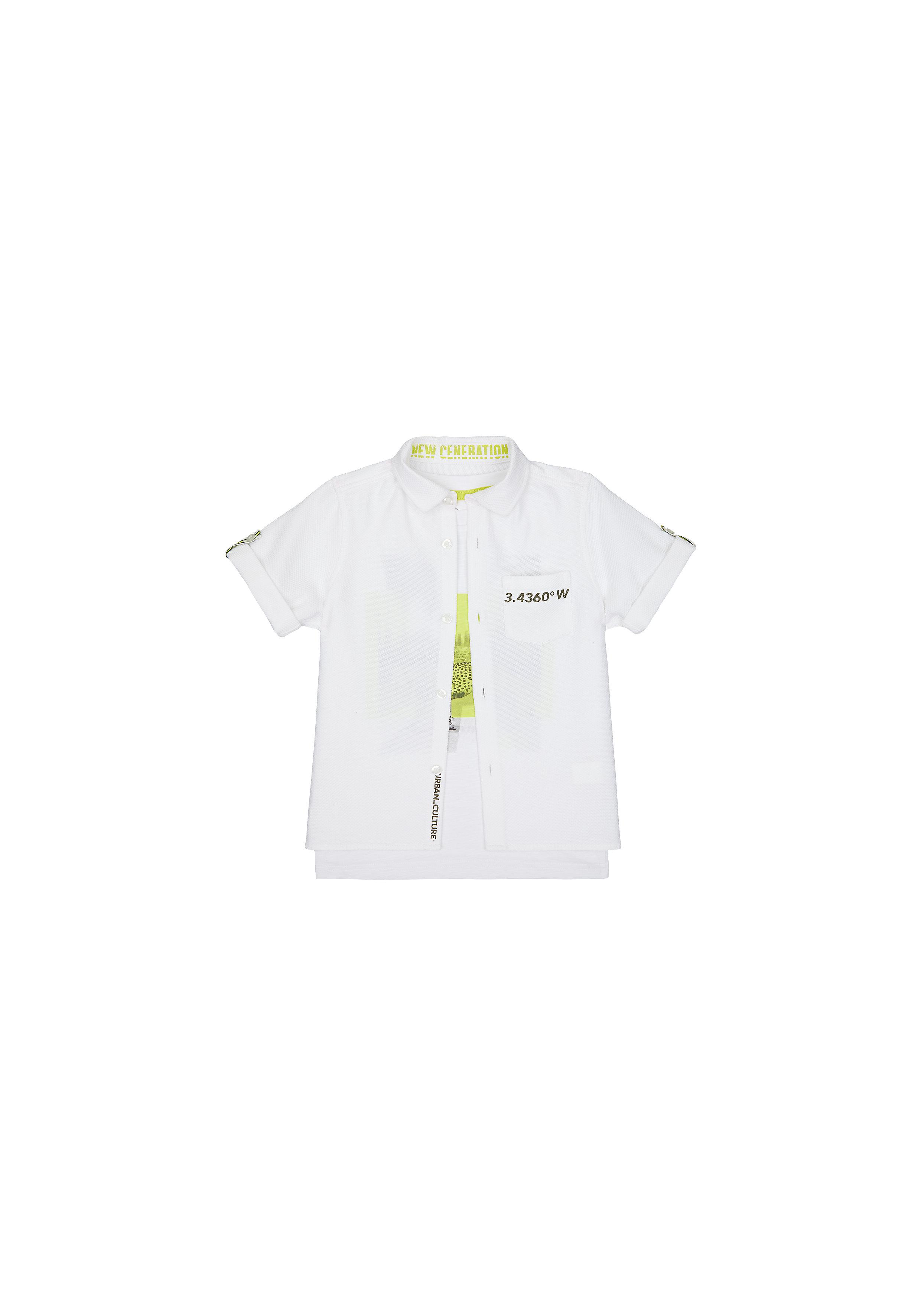 Mothercare | Boys Half Sleeves Shirt And Tee Set Printed - White