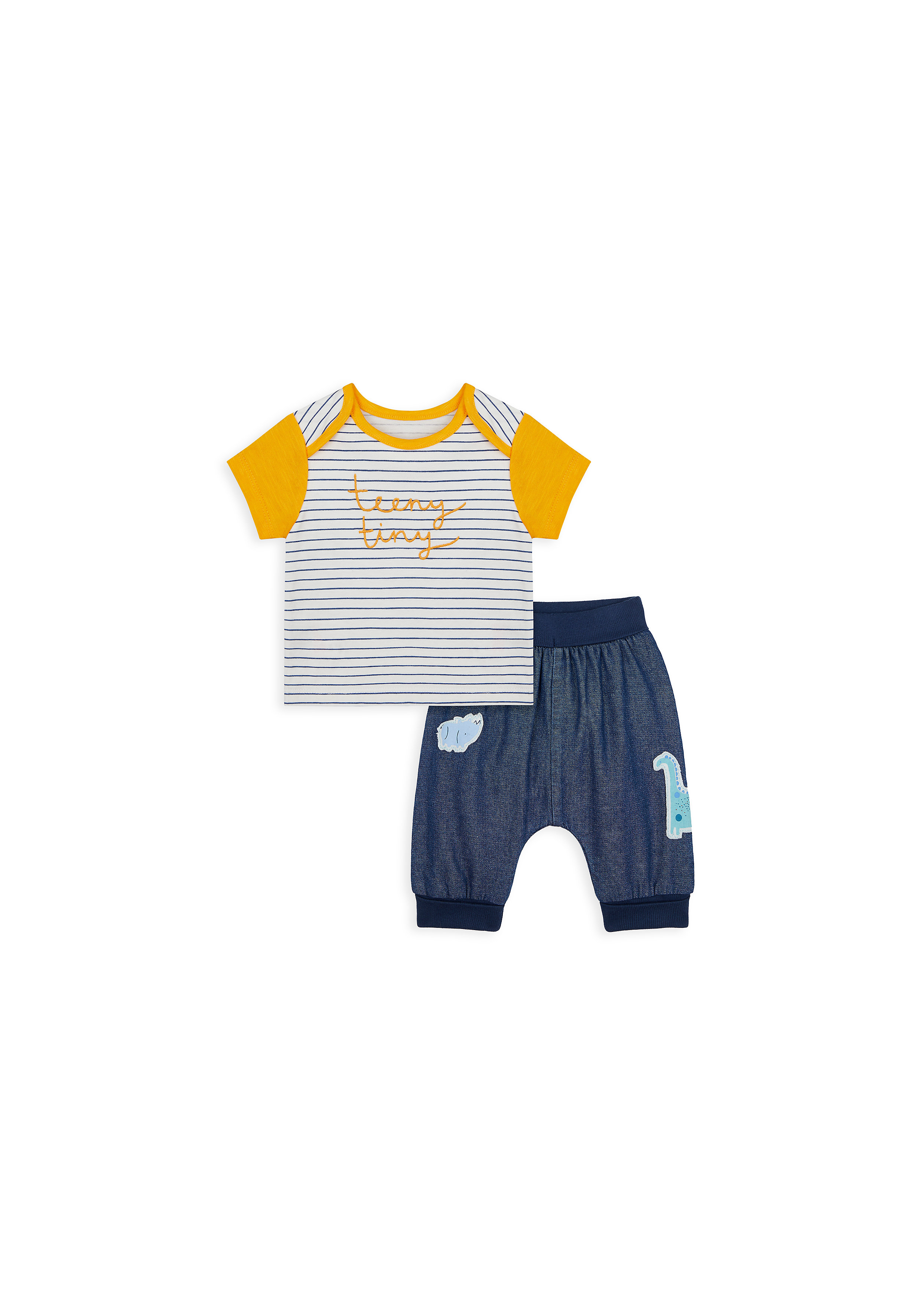 Mothercare | Boys Half Sleeves T-Shirt And Jogger Set Striped - Yellow Navy