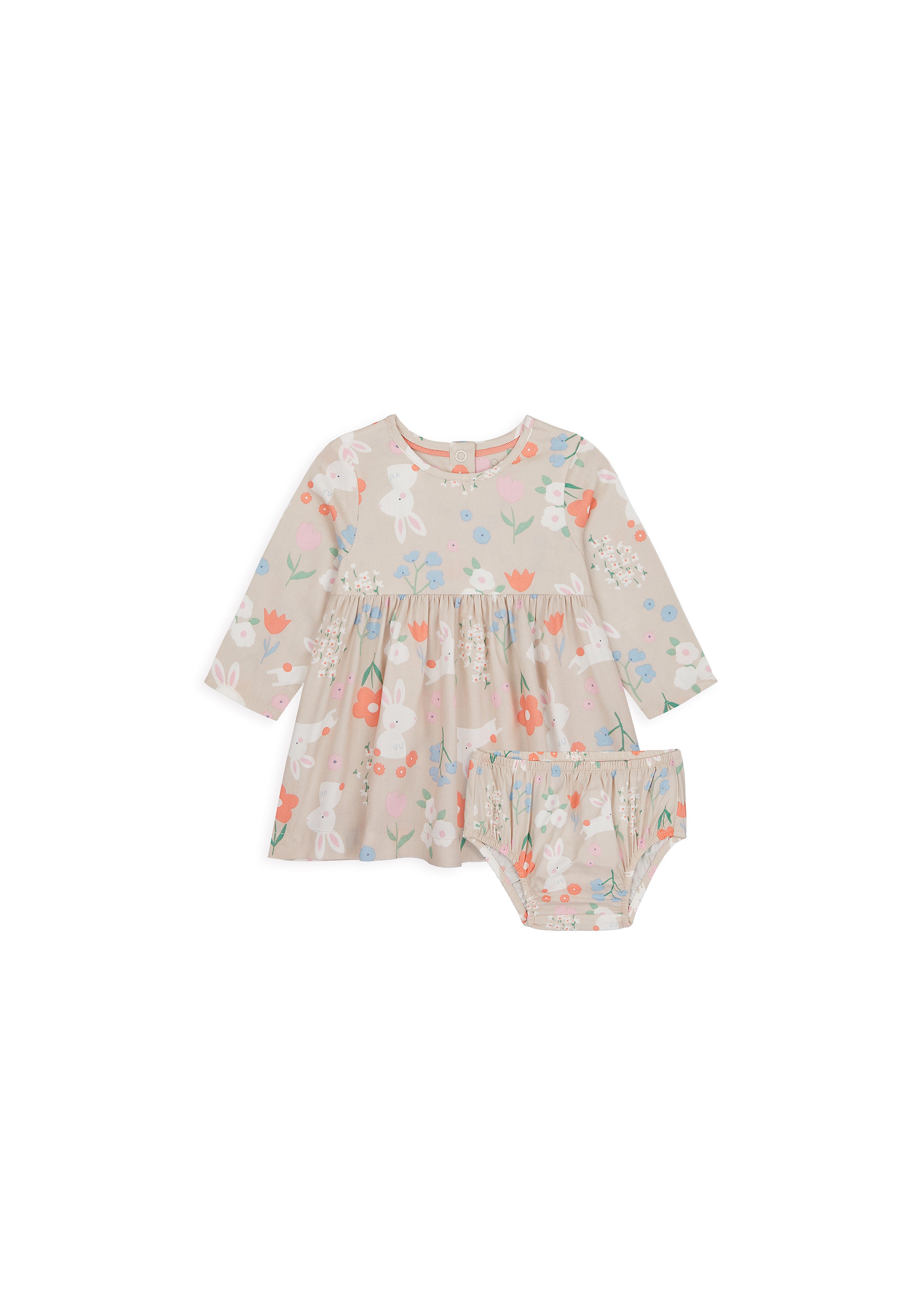 Mothercare | Girls Full Sleeves Dress And Knickers Set Bunny Print - Multicolor