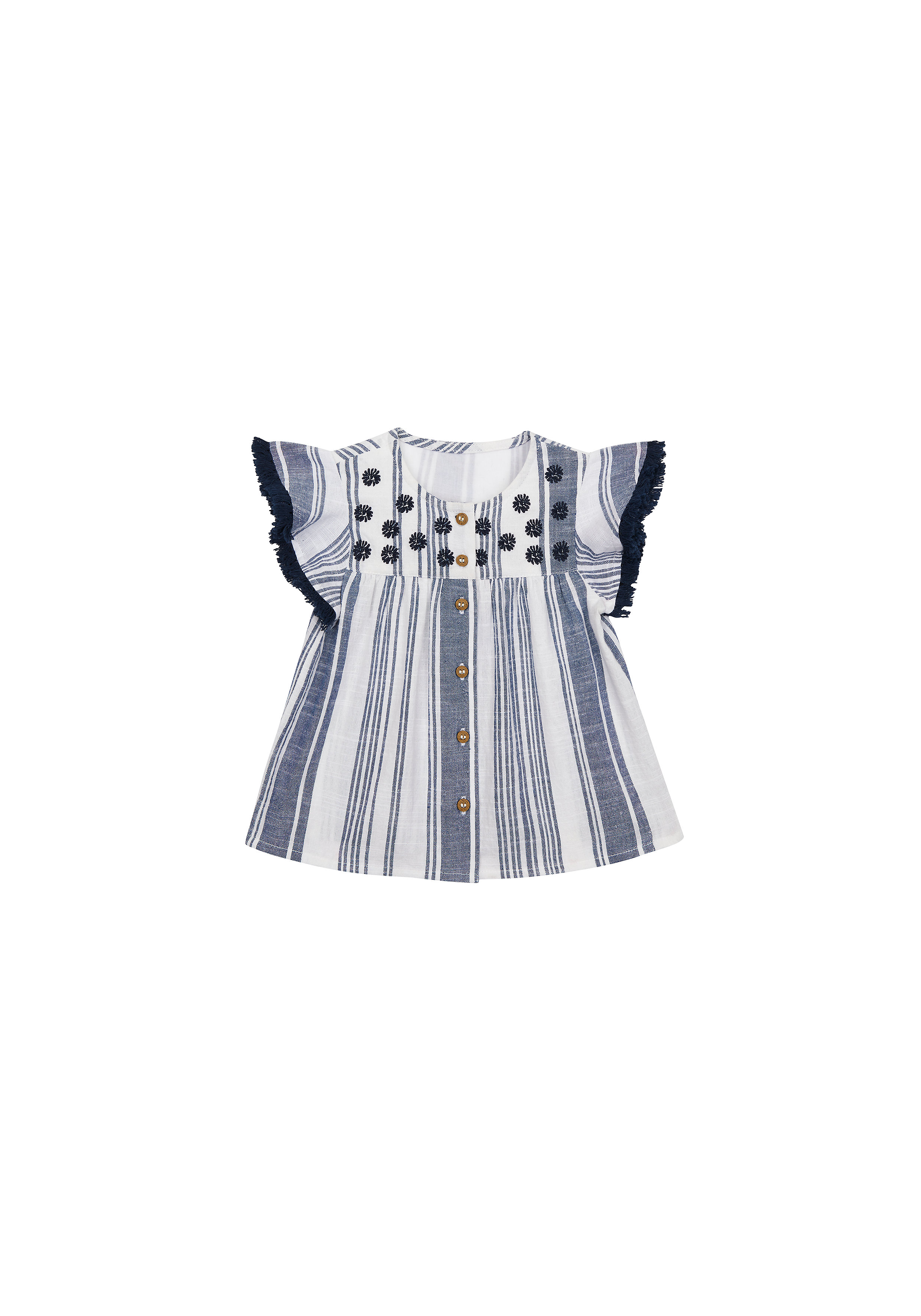 Mothercare | Girls Half Sleeves Striped Top Embroidered - White Navy
