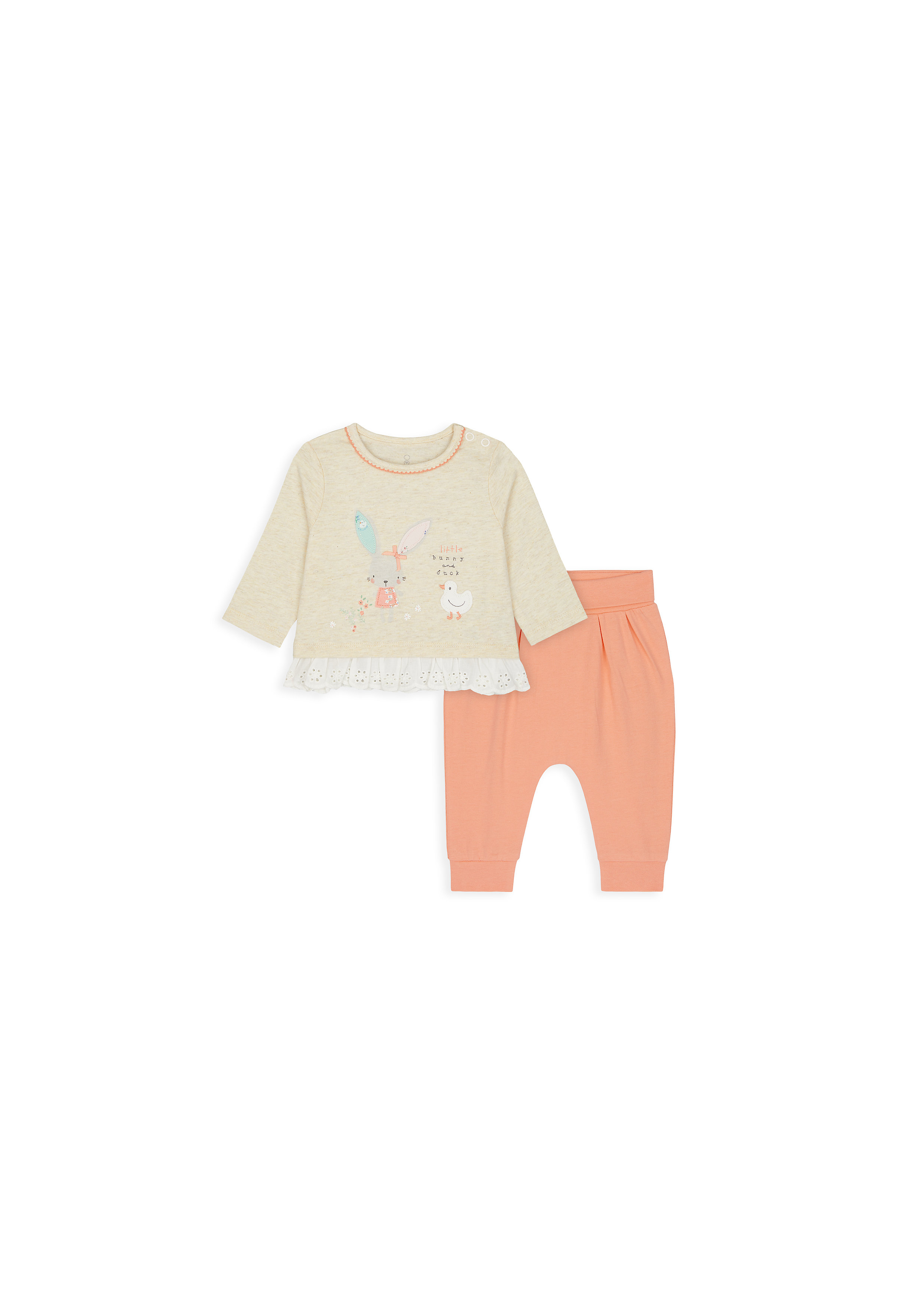 Mothercare | Girls Full Sleeves Tops And Jogger Set Bunny Patchwork - Orange